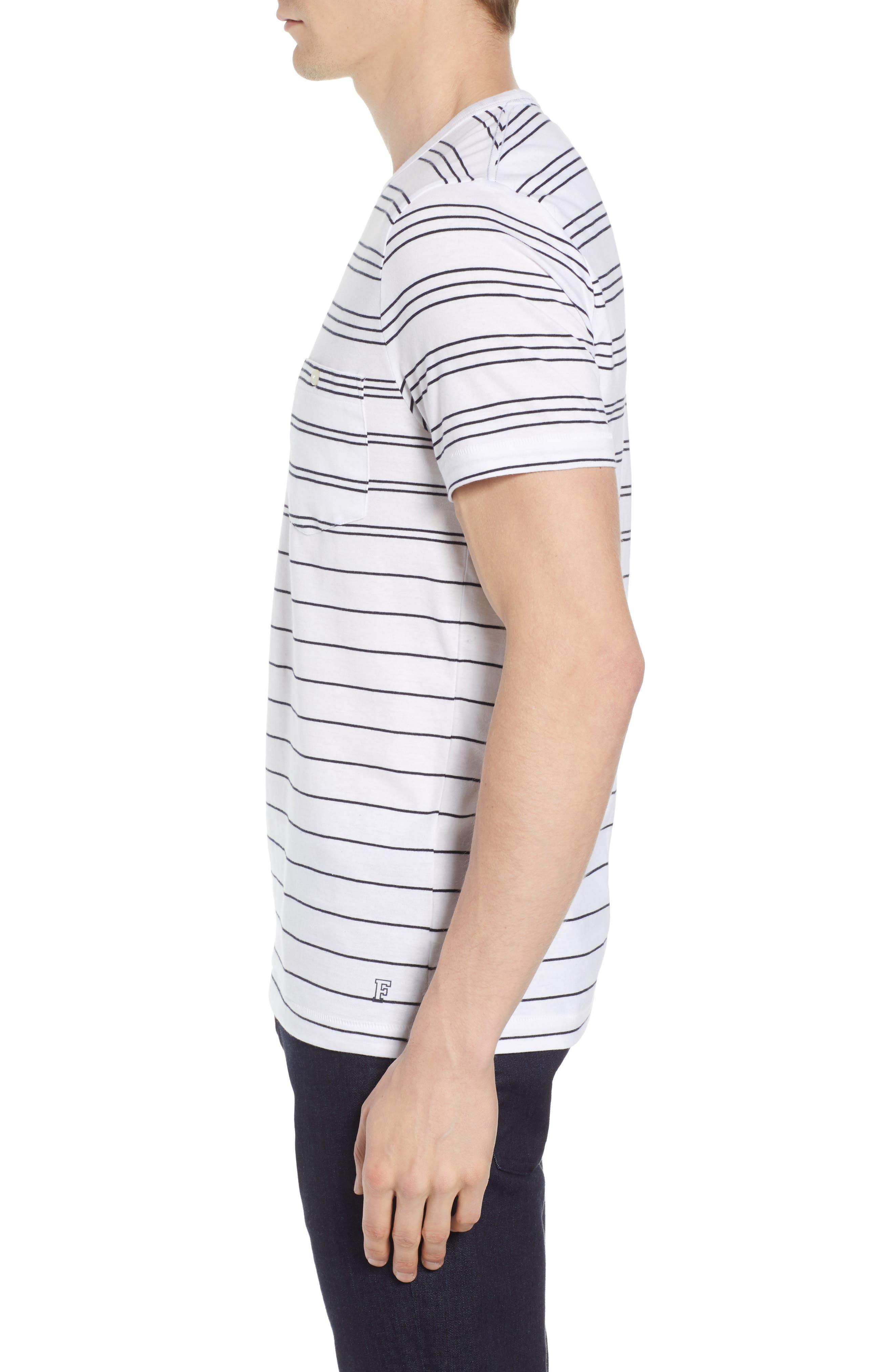 Summer Graded Stripe Pocket T-Shirt,                             Alternate thumbnail 3, color,                             WHITE MARINE BLUE