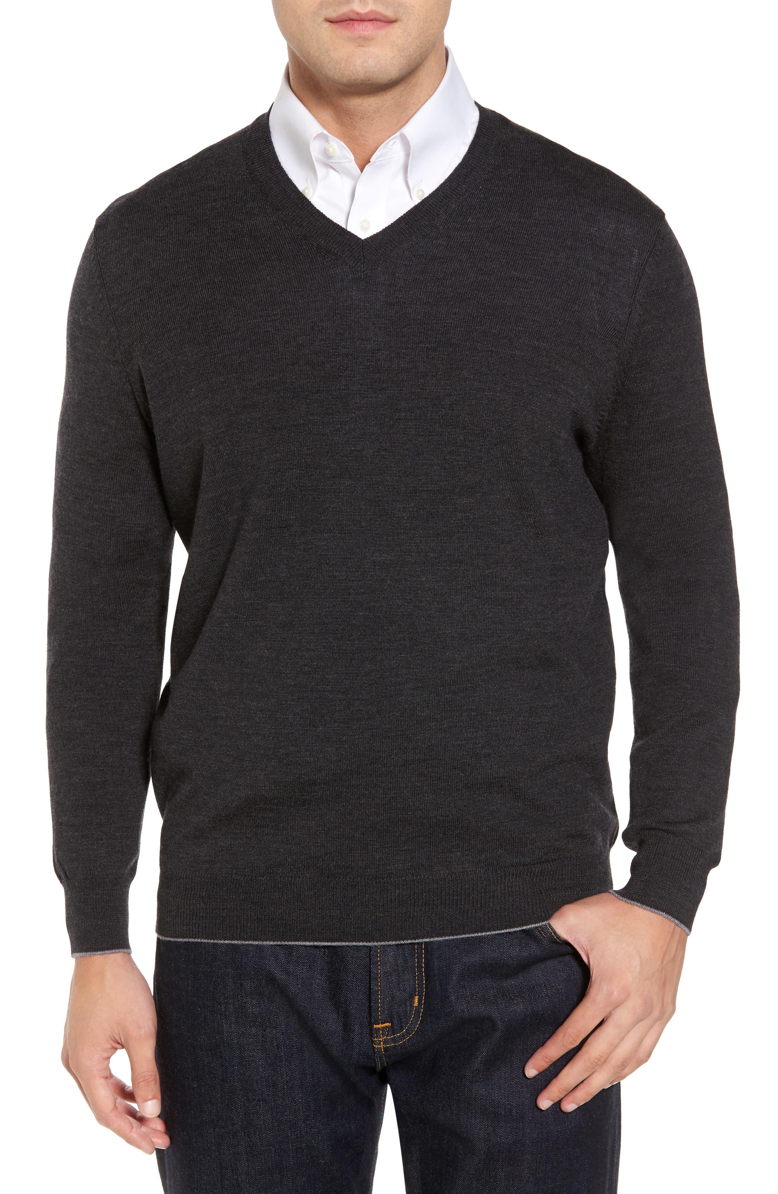 Merino Wool Blend V-Neck Sweater,                         Main,                         color, 020