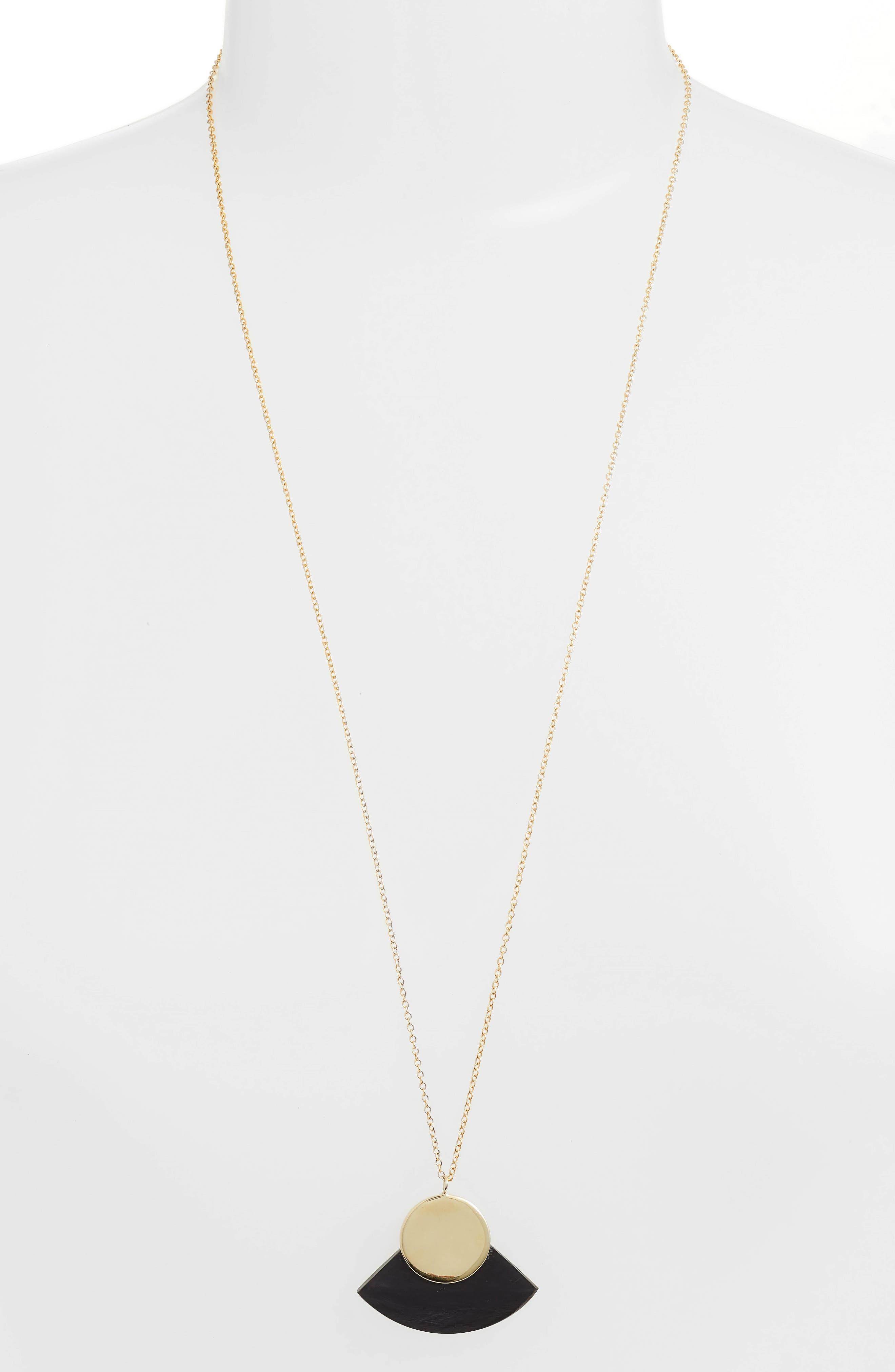 Horn Paddle Pendant Necklace,                         Main,                         color, BLACK/ BRASS