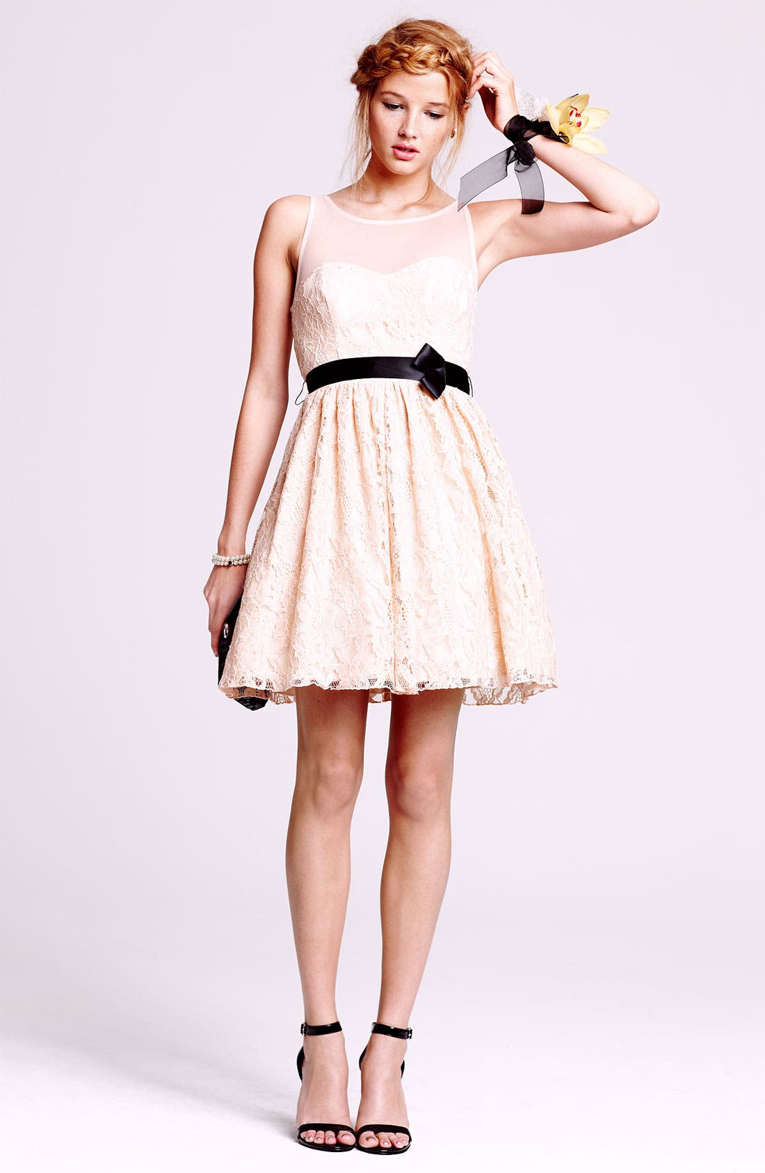 Illusion Lace Fit & Flare Dress,                             Main thumbnail 1, color,                             900