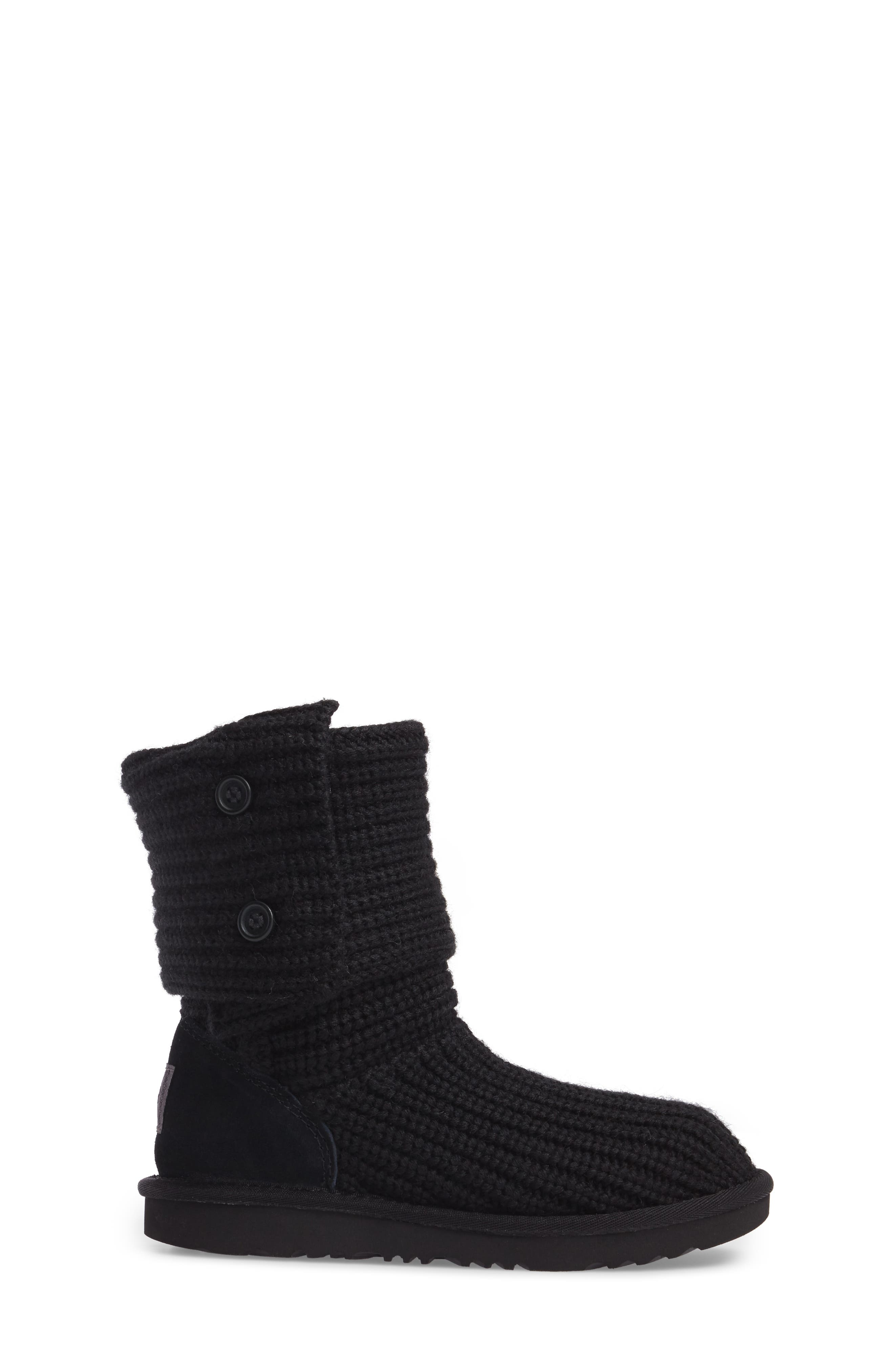 Cardy II Cableknit Boot,                             Alternate thumbnail 3, color,                             BLACK