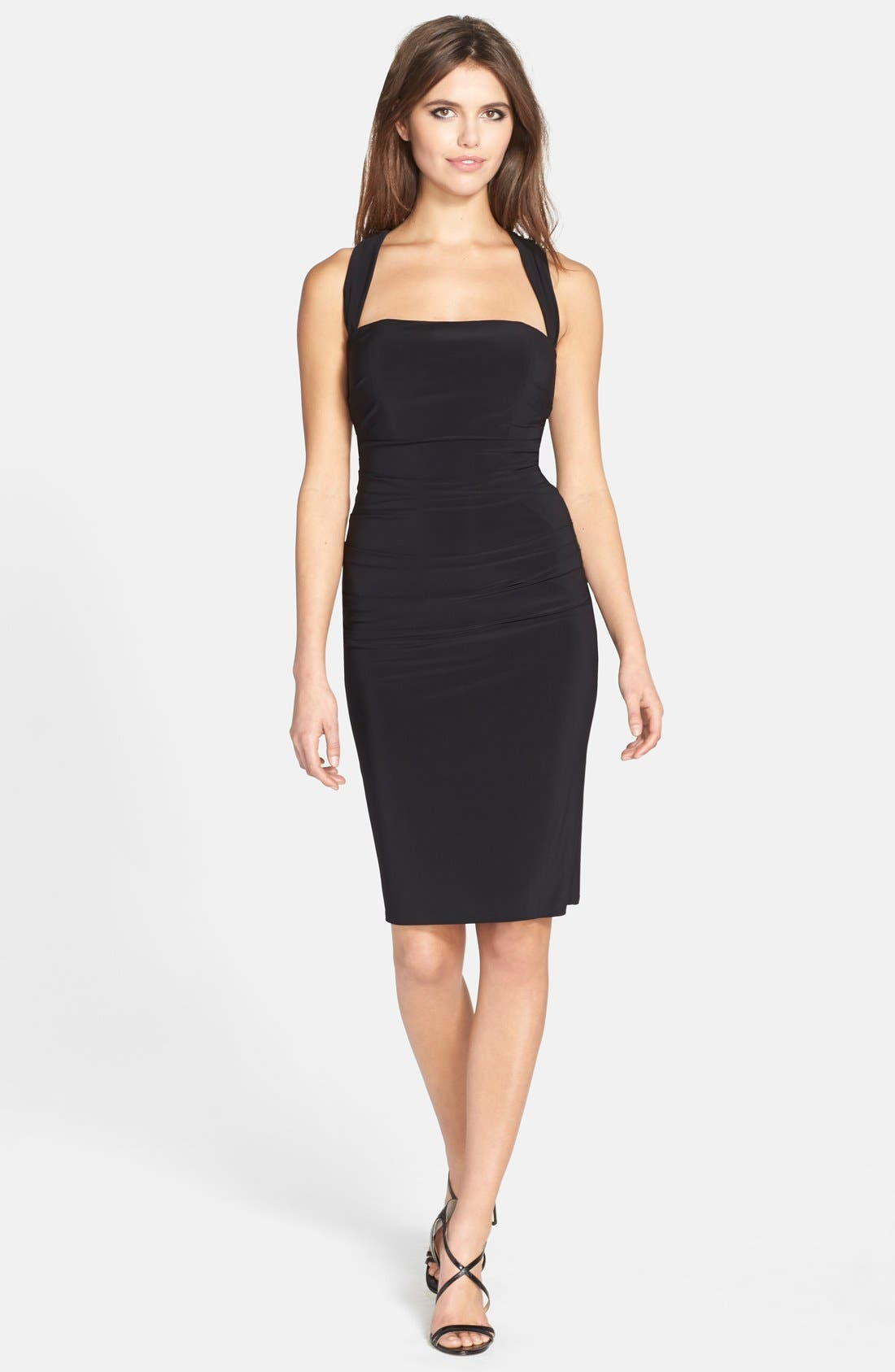 Twist Back Jersey Body-Con Dress,                             Alternate thumbnail 3, color,                             001