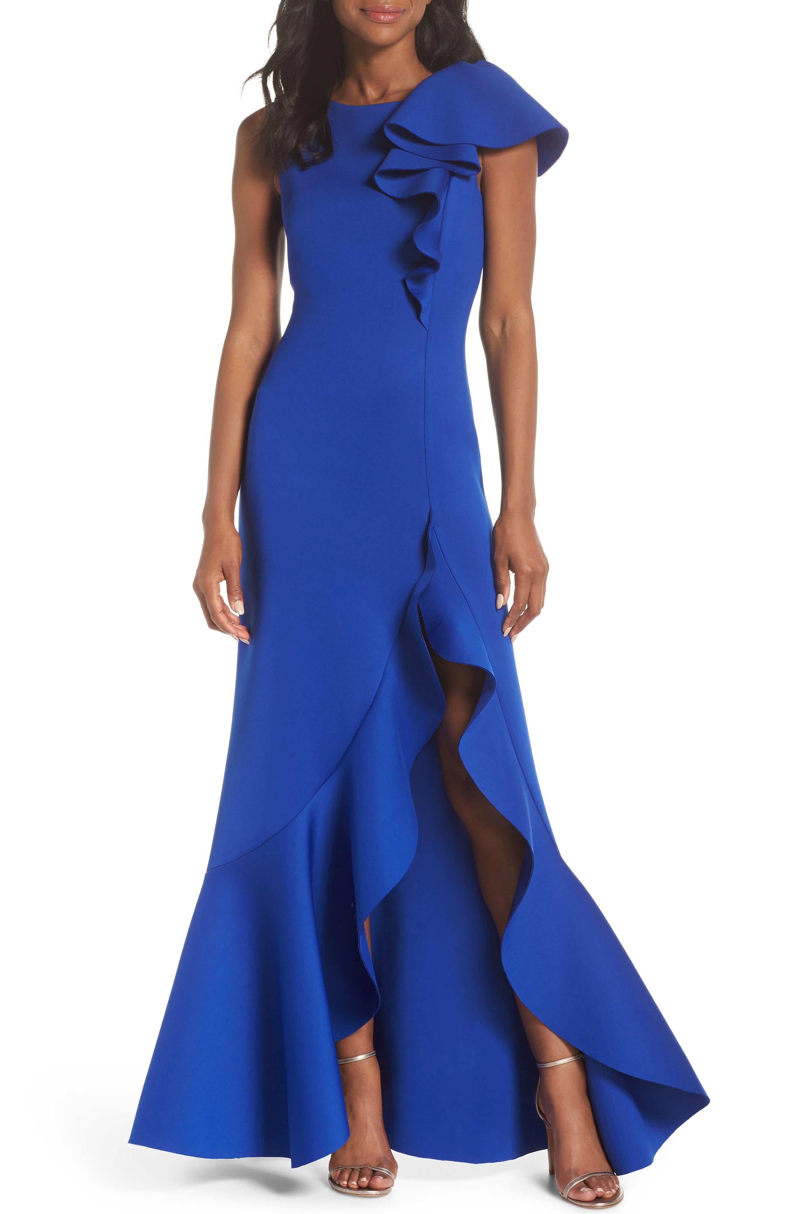 Eliza J Asymmetric Ruffle Gown, Blue