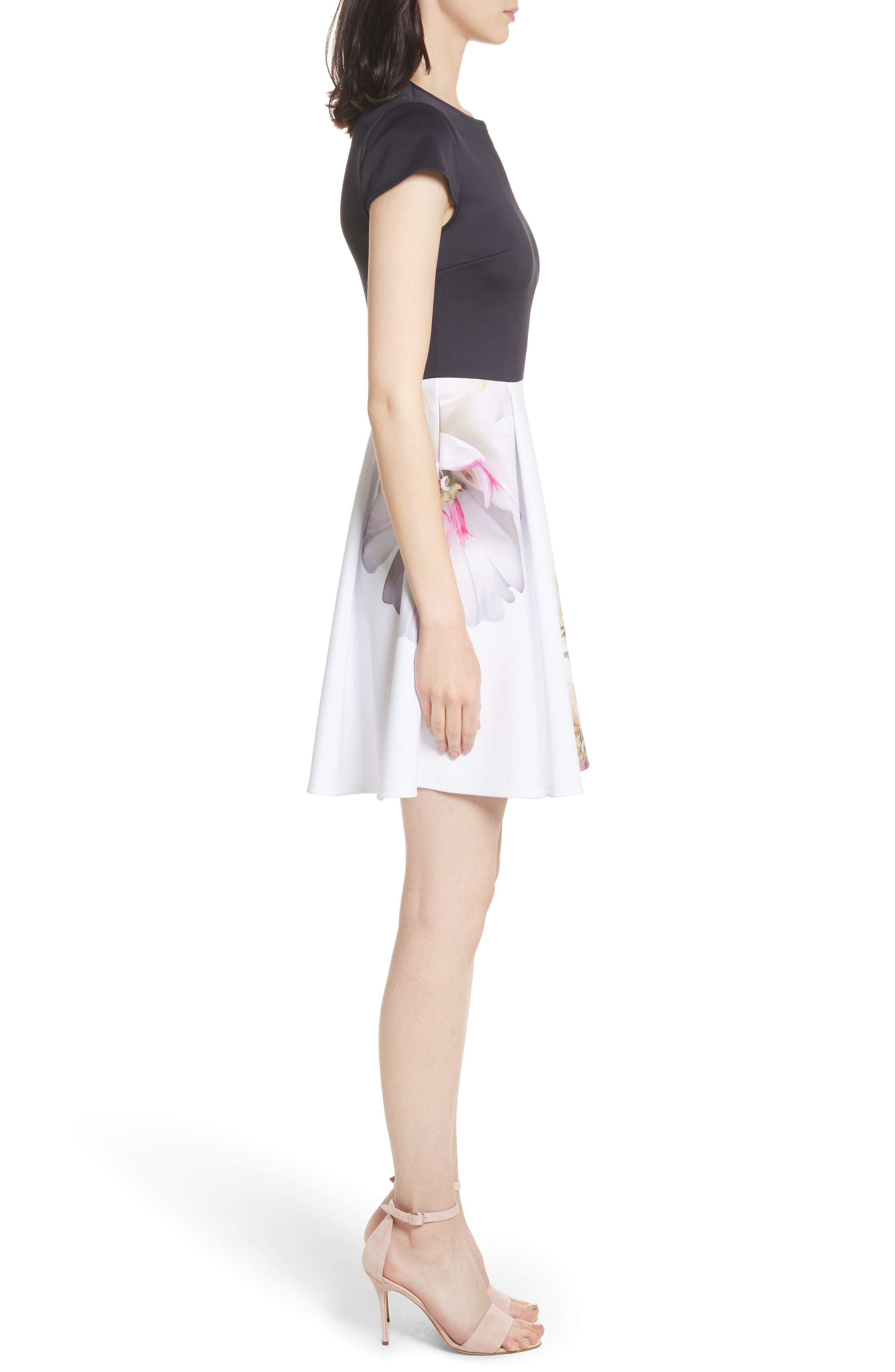 Gardenia Skater Dress,                             Alternate thumbnail 3, color,                             402