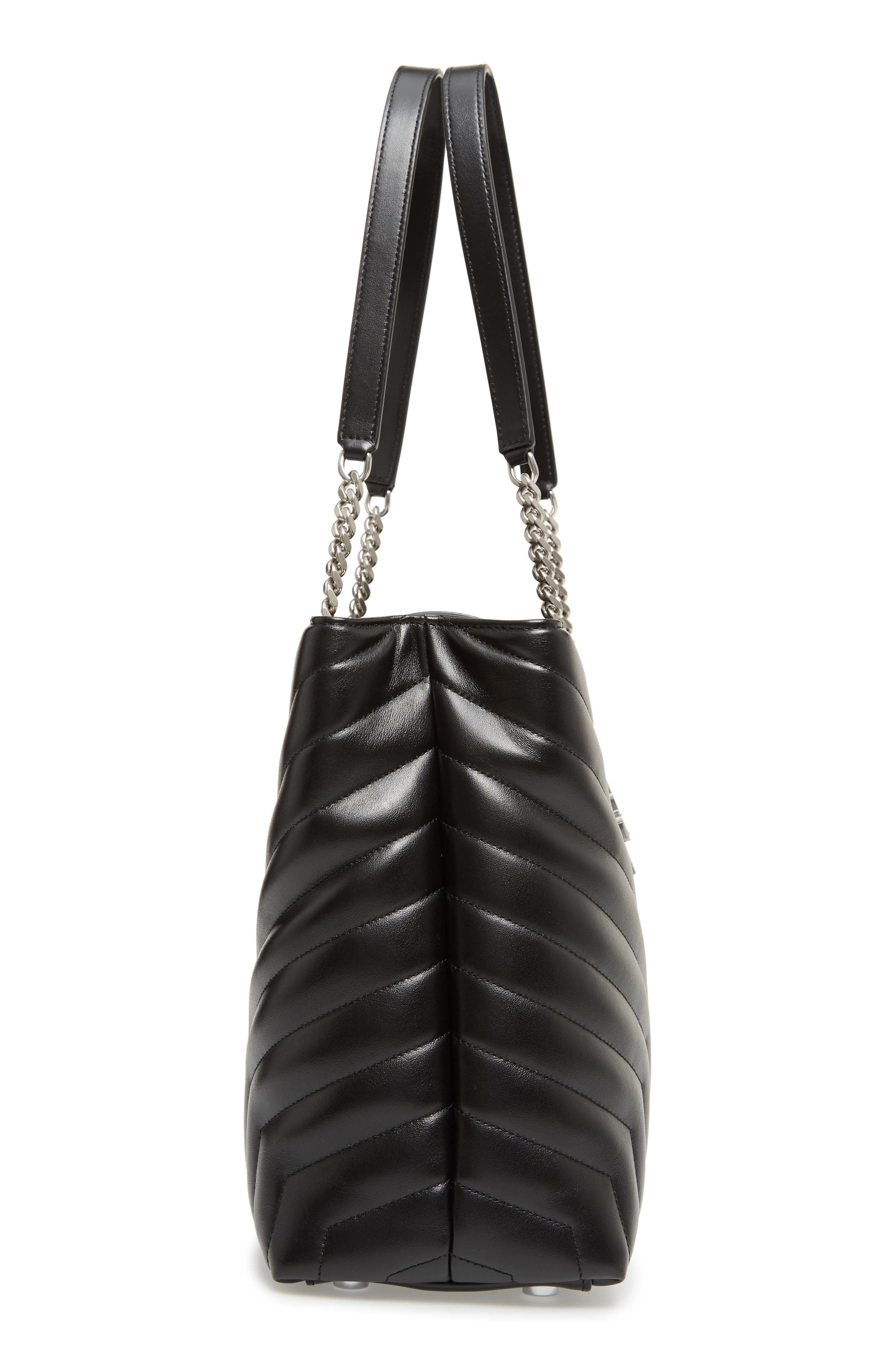 Large Loulou Matelassé Leather Shopper,                             Alternate thumbnail 5, color,                             NERO/ NERO
