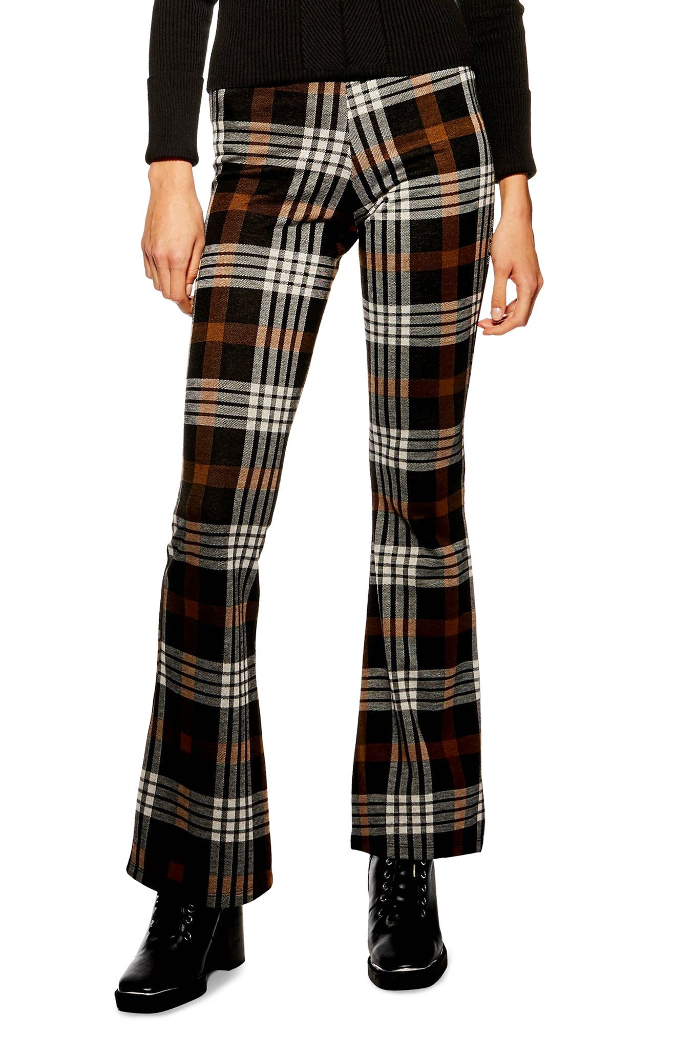 Topshop Plaid Flare Pants