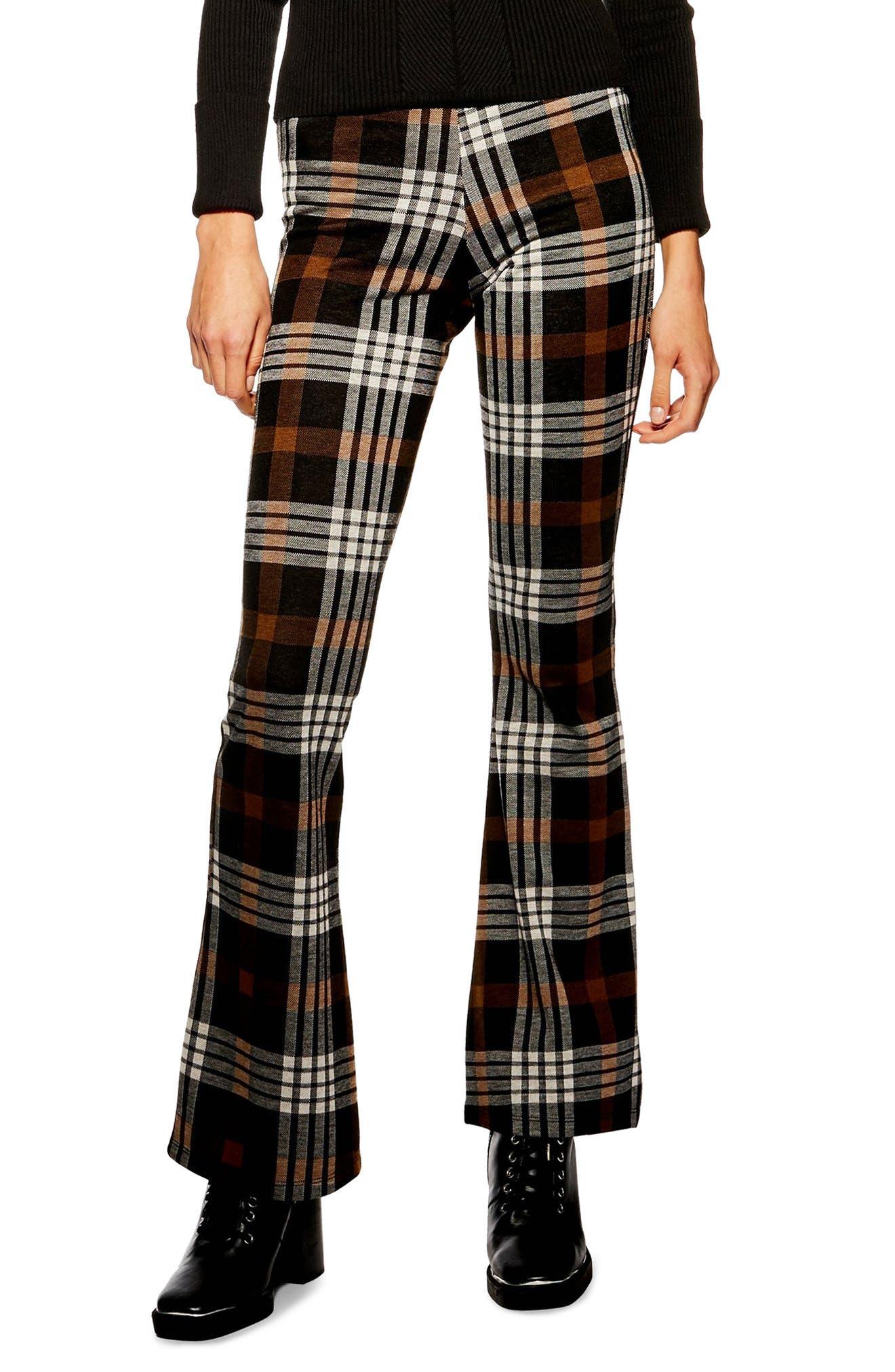 Plaid Flare Pants, Main, color, BROWN MULTI