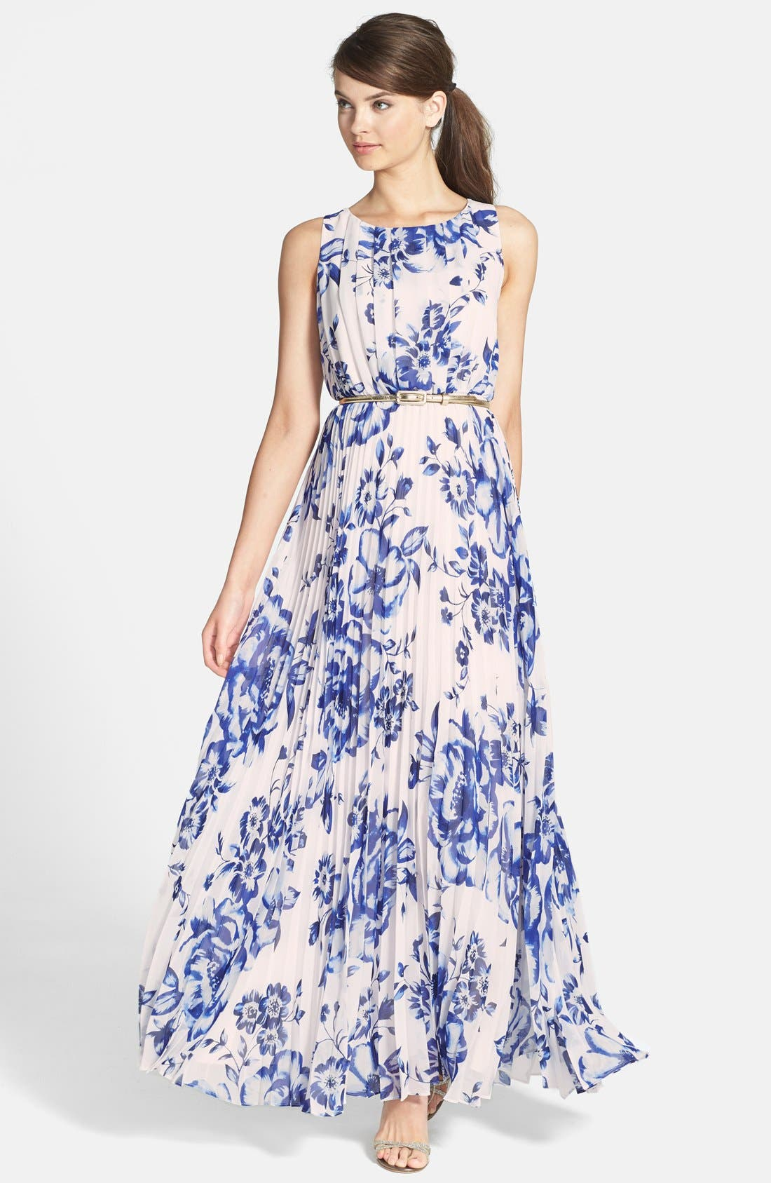 Eliza J Pleated Floral Chiffon Maxi Dress