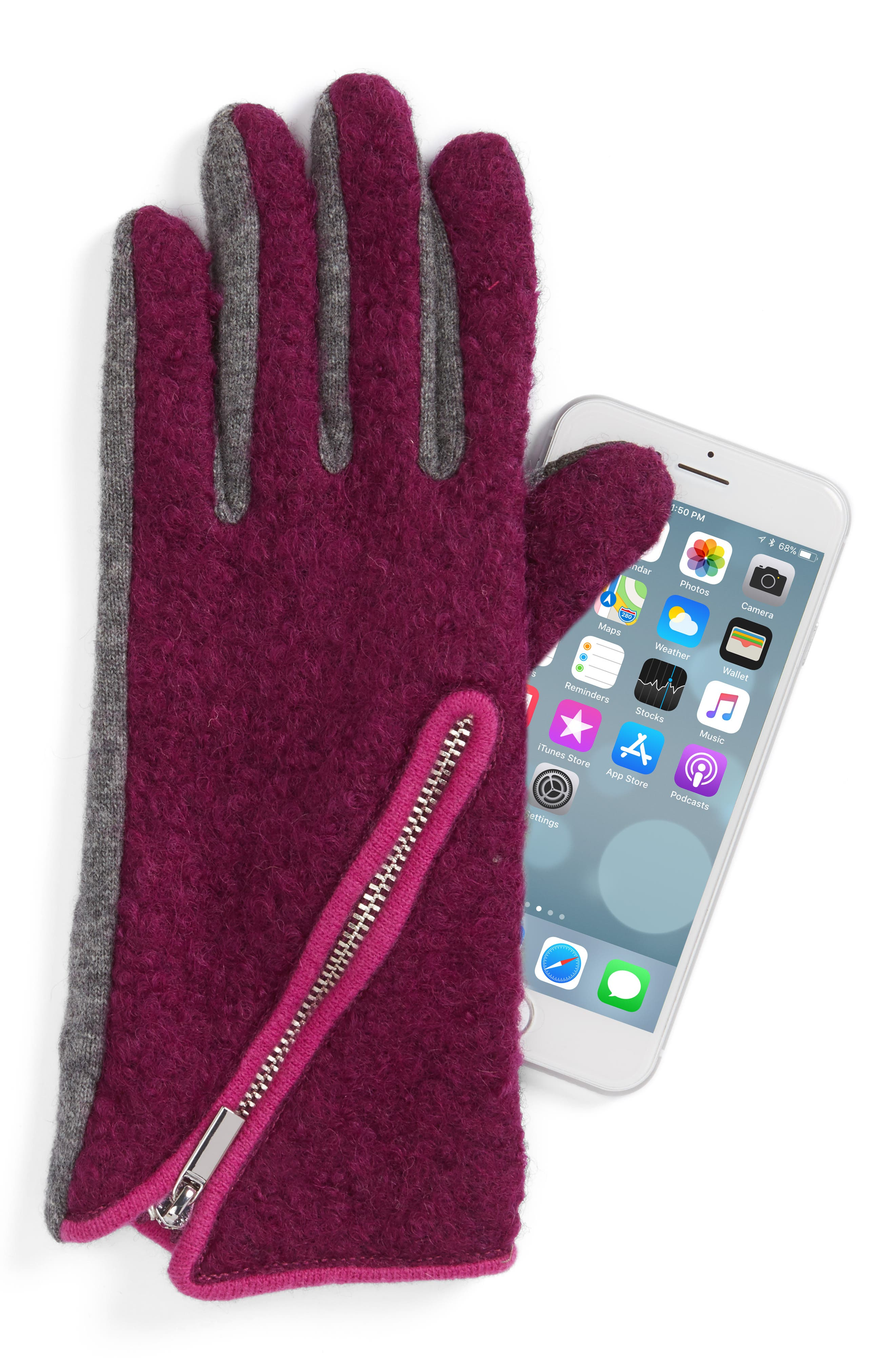 'Touch - Zip Bouclé' Tech Gloves,                             Alternate thumbnail 2, color,                             529