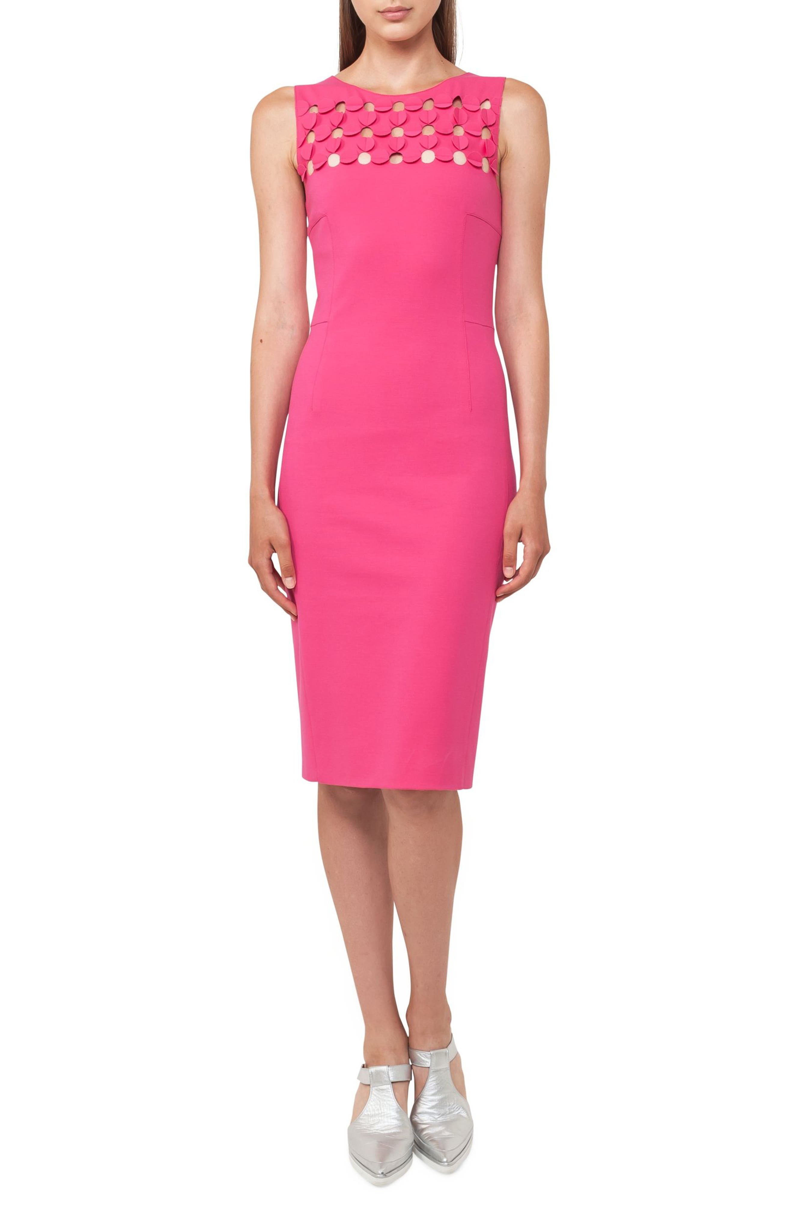 Cutout Dot Sheath Dress,                             Main thumbnail 1, color,                             650
