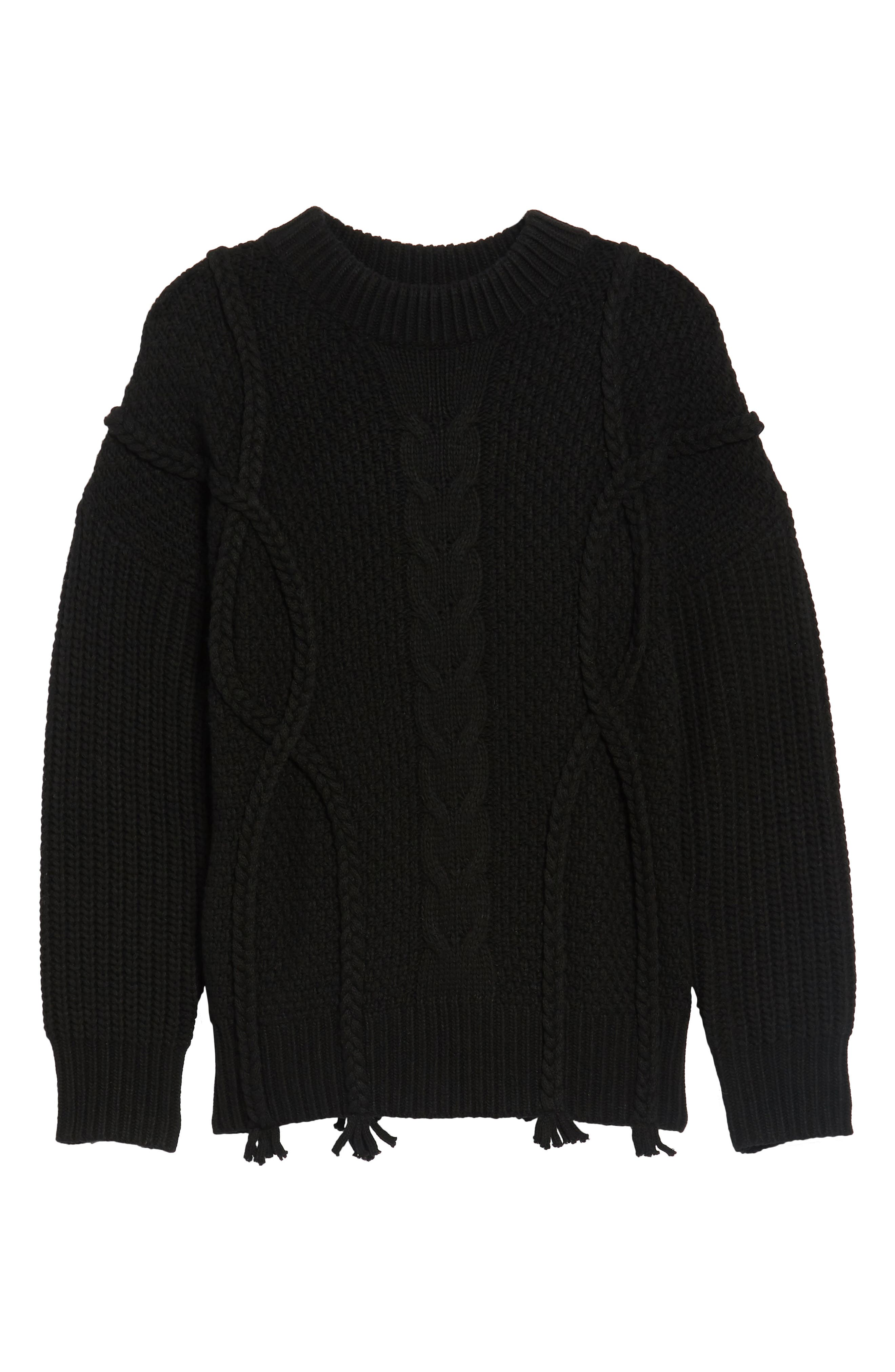 Plaited Cable Knit Sweater,                             Alternate thumbnail 6, color,                             001