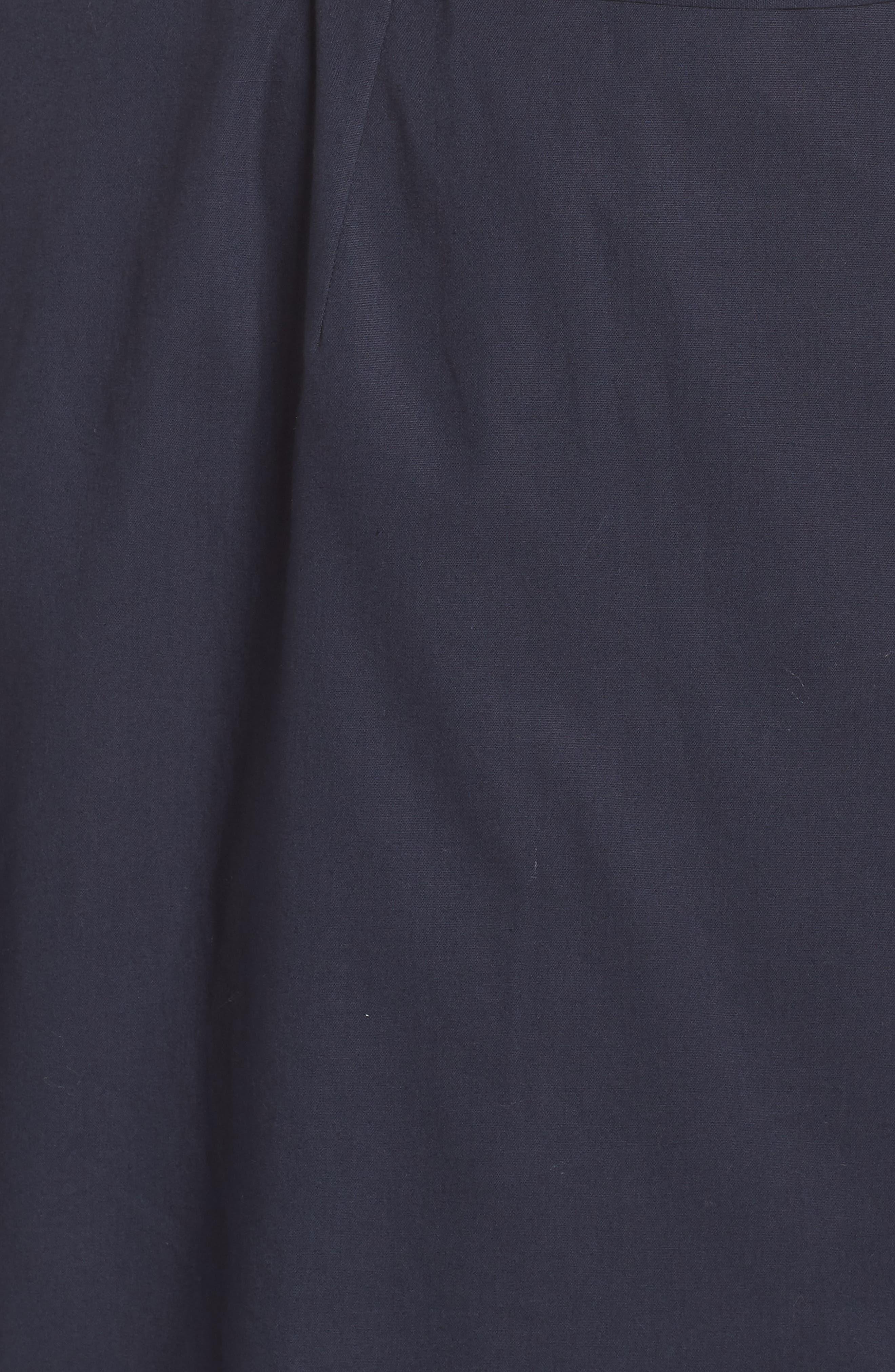 Ruffle Trim Poplin Wrap Dress,                             Alternate thumbnail 6, color,                             NAVY
