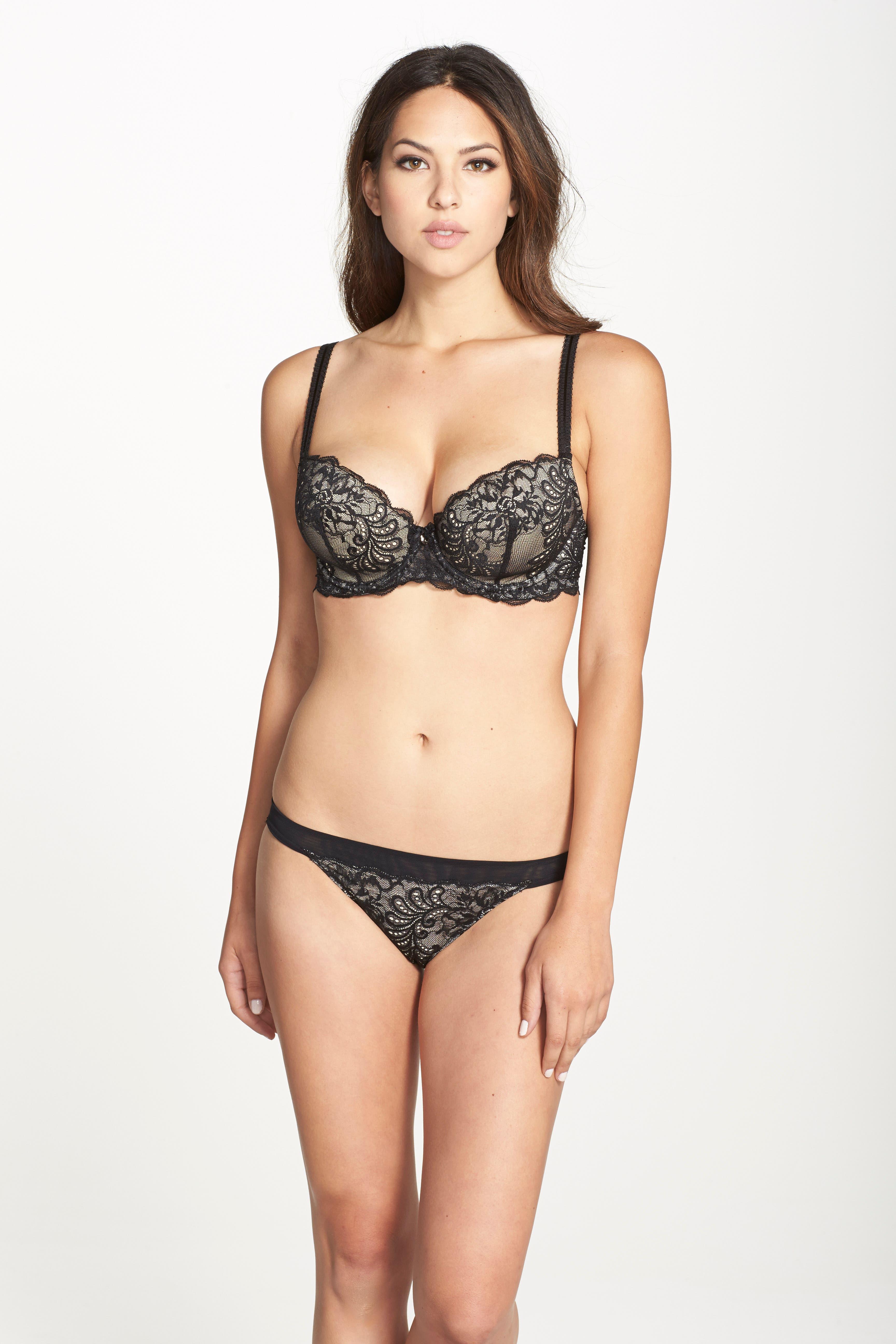 'Sophia' Lace Bikini,                             Alternate thumbnail 3, color,                             BLACK