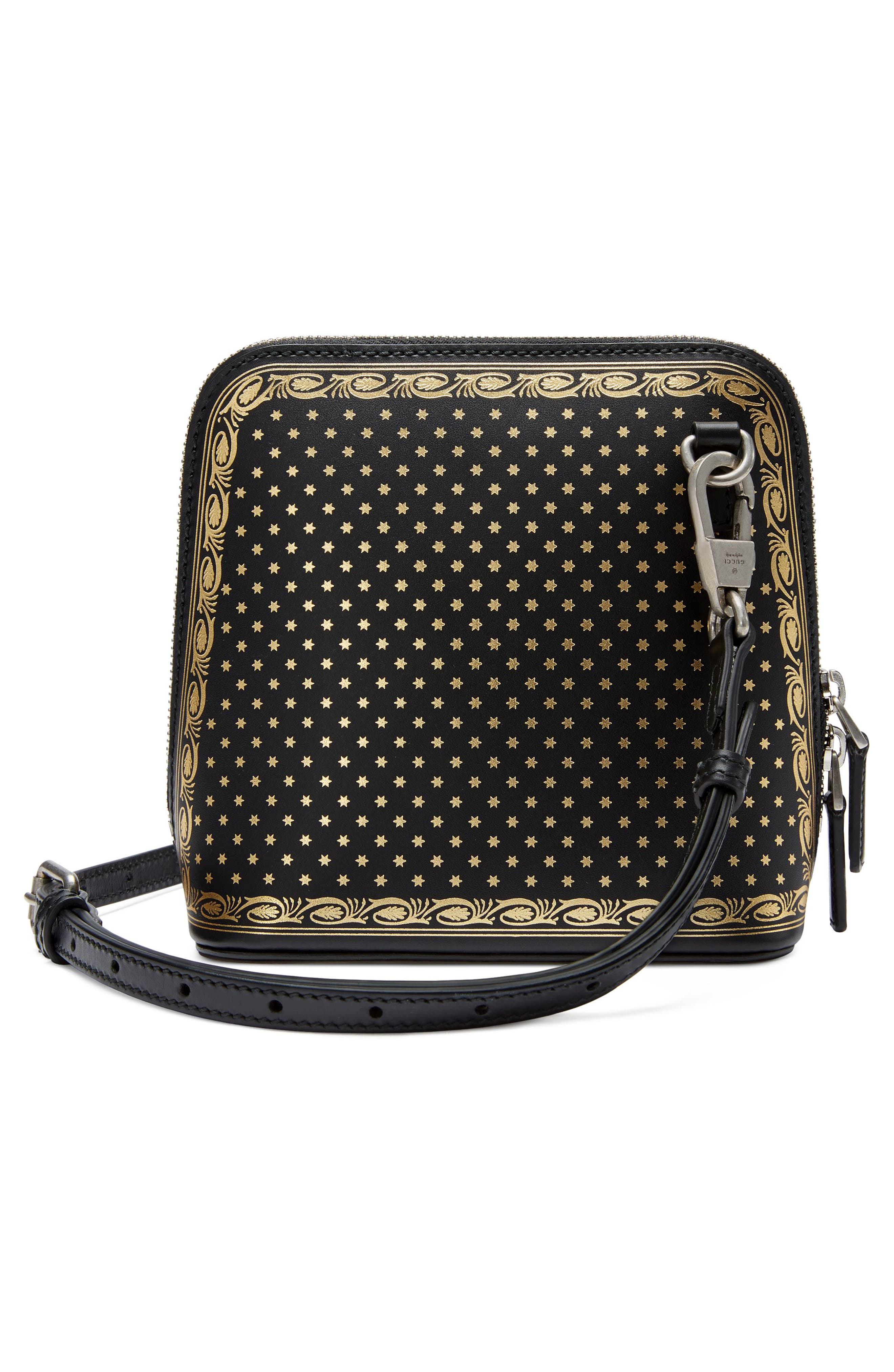 Guccy Logo Moon & Stars Leather Crossbody Bag,                             Alternate thumbnail 2, color,                             NERO/ ORO