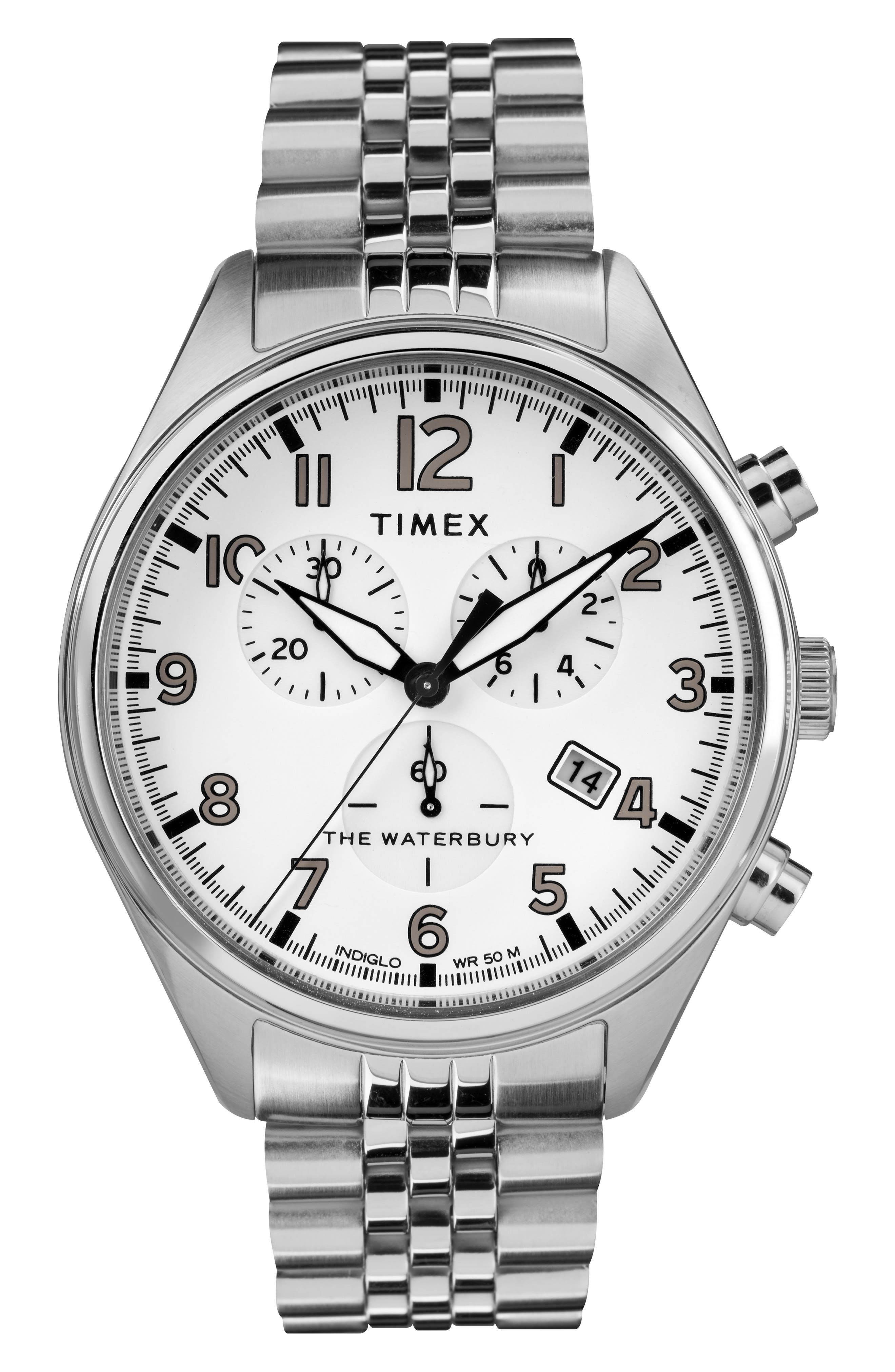 Waterbury Chronograph Bracelet Watch, 42mm,                             Main thumbnail 1, color,                             SILVER/ WHITE/ SILVER
