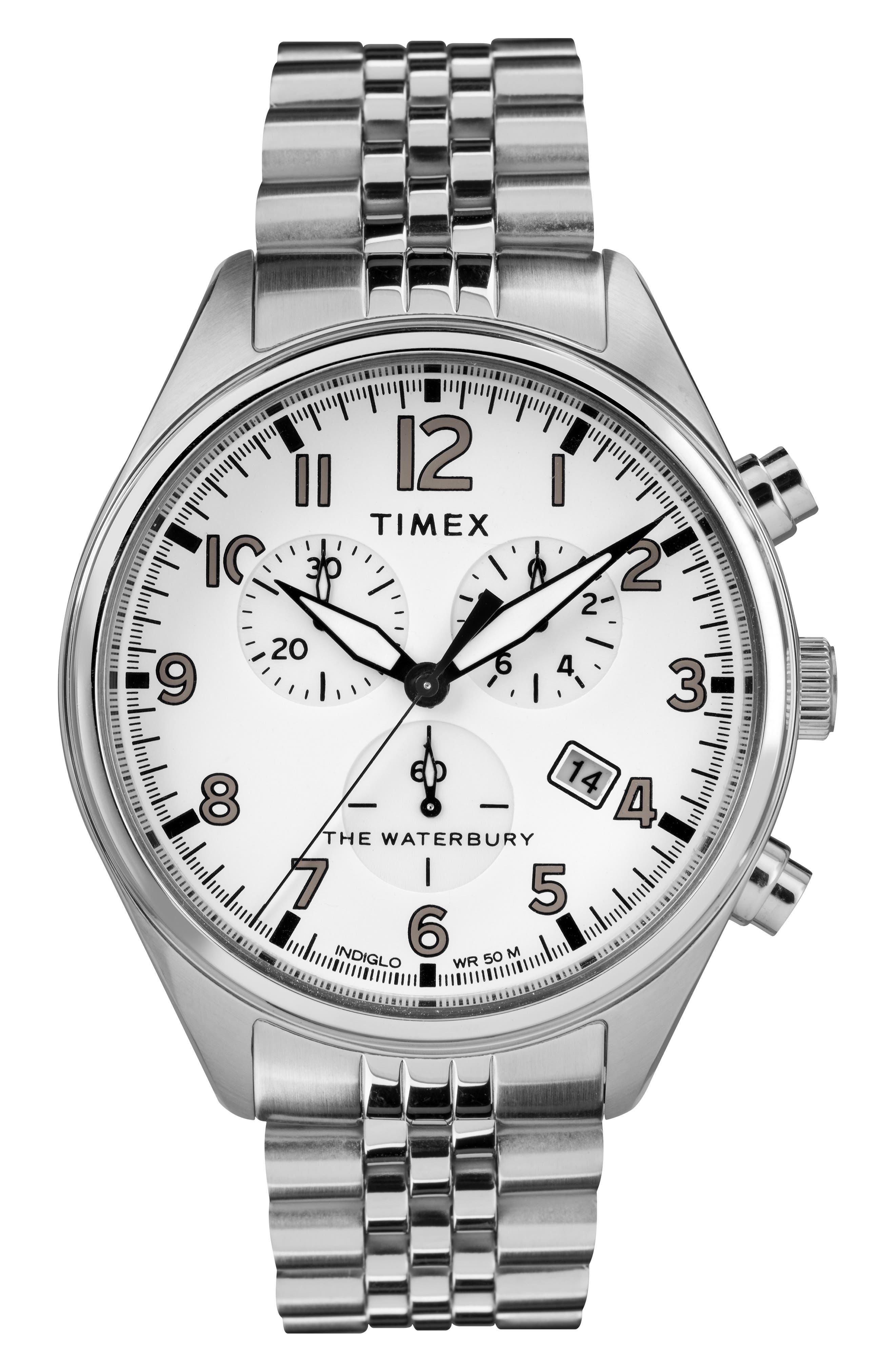 Waterbury Chronograph Bracelet Watch, 42mm,                         Main,                         color, SILVER/ WHITE/ SILVER