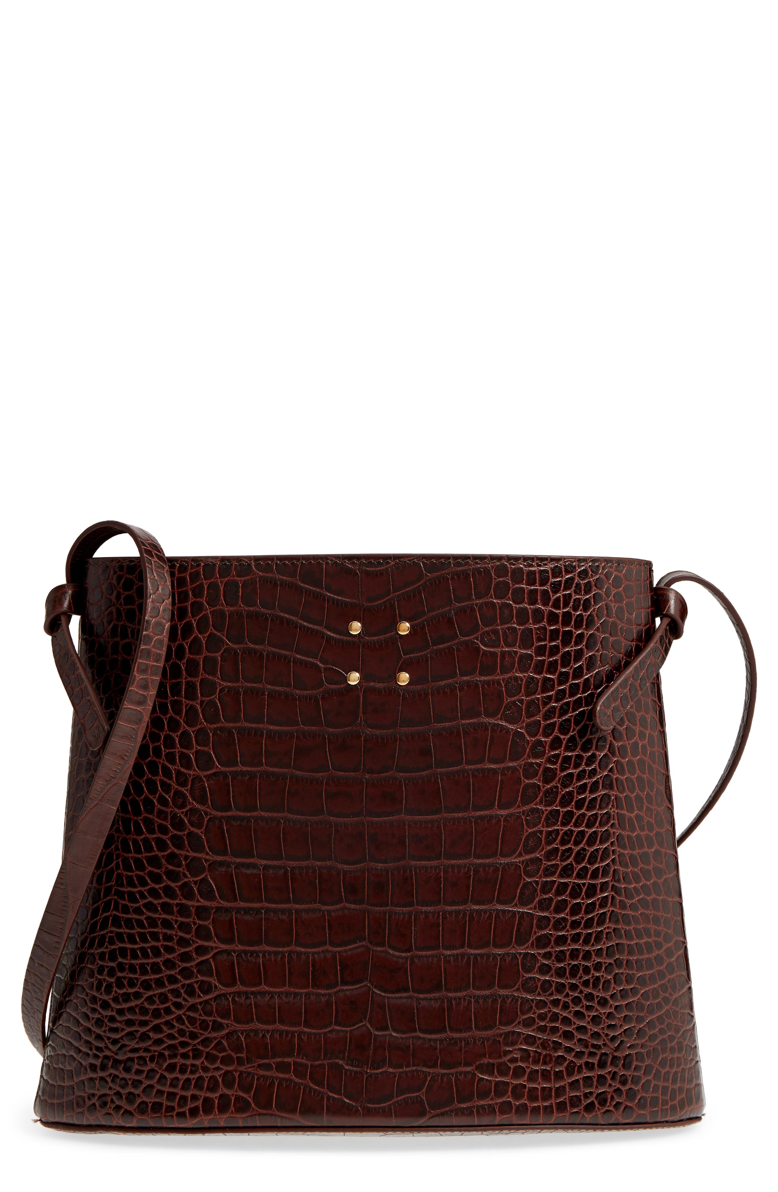 Sybil Croc Embossed Leather Tote,                             Main thumbnail 1, color,                             CHOCOLATE BROWN