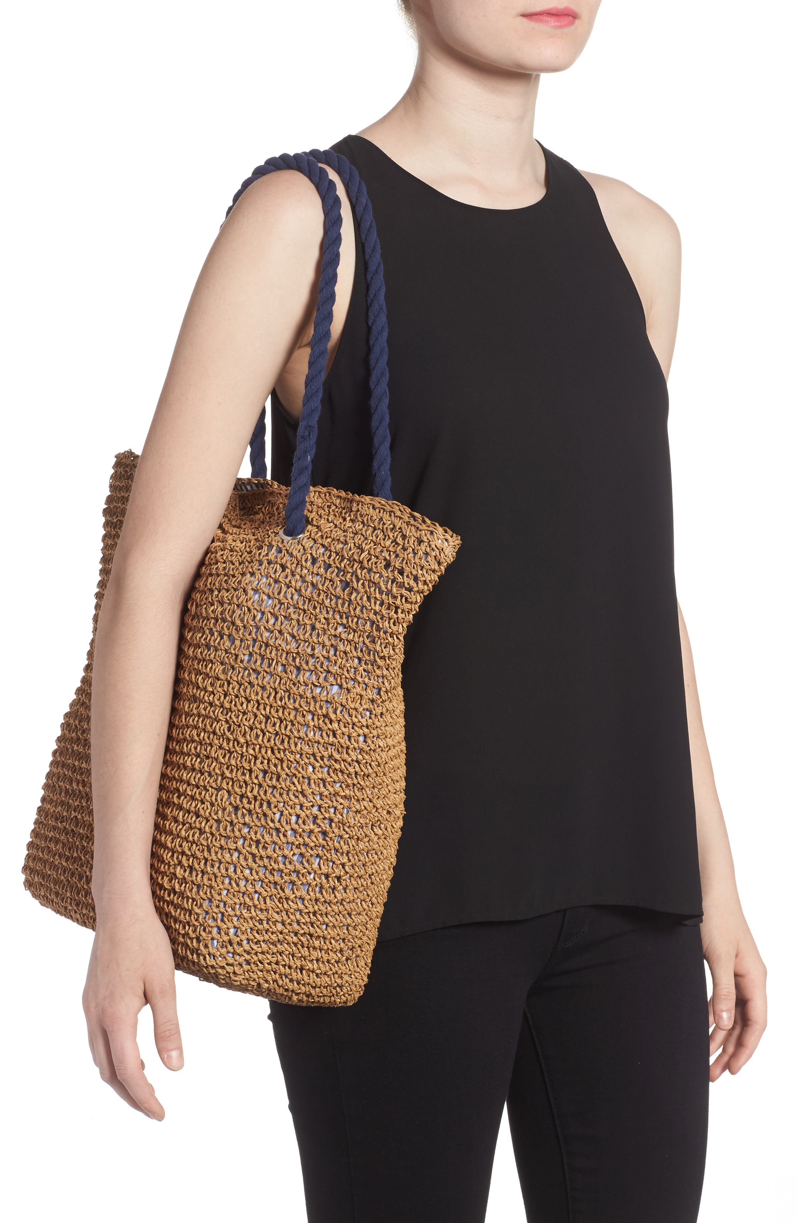 Rope & Straw Tote,                             Alternate thumbnail 2, color,                             200