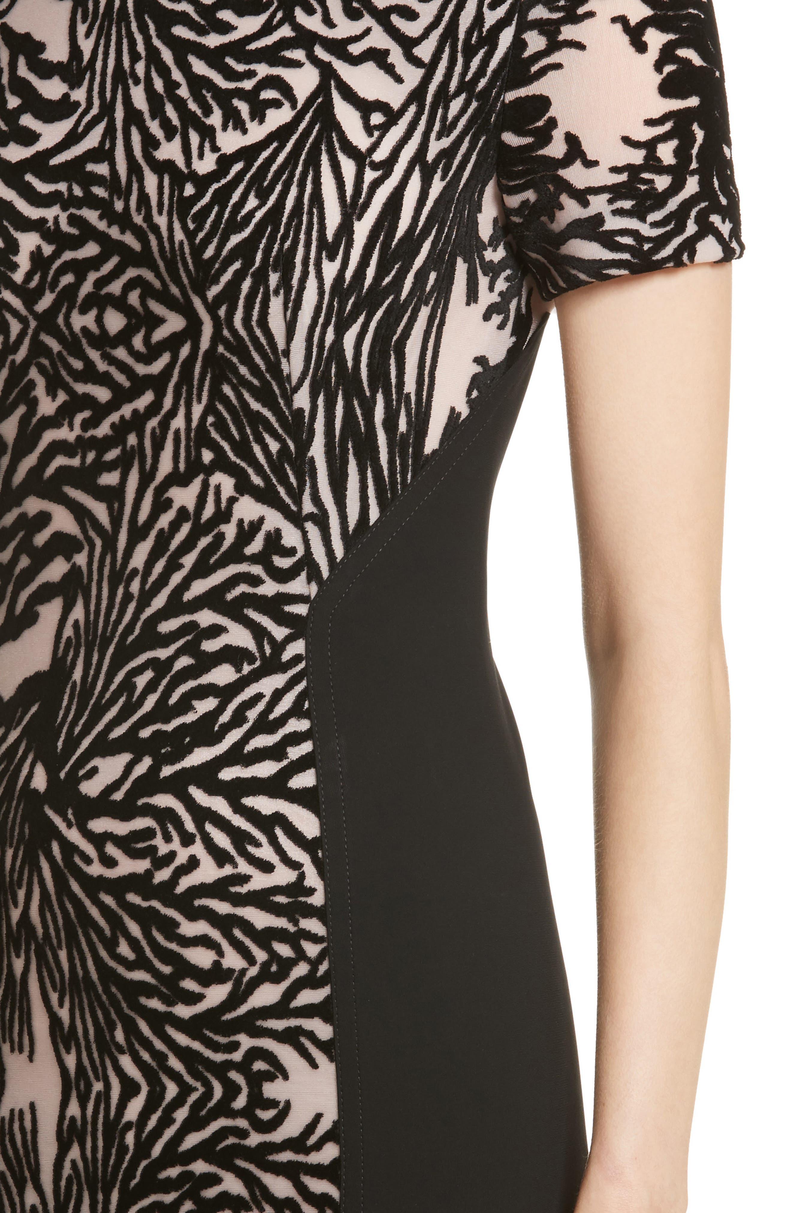 Burnout Coral Sheath Dress,                             Alternate thumbnail 4, color,
