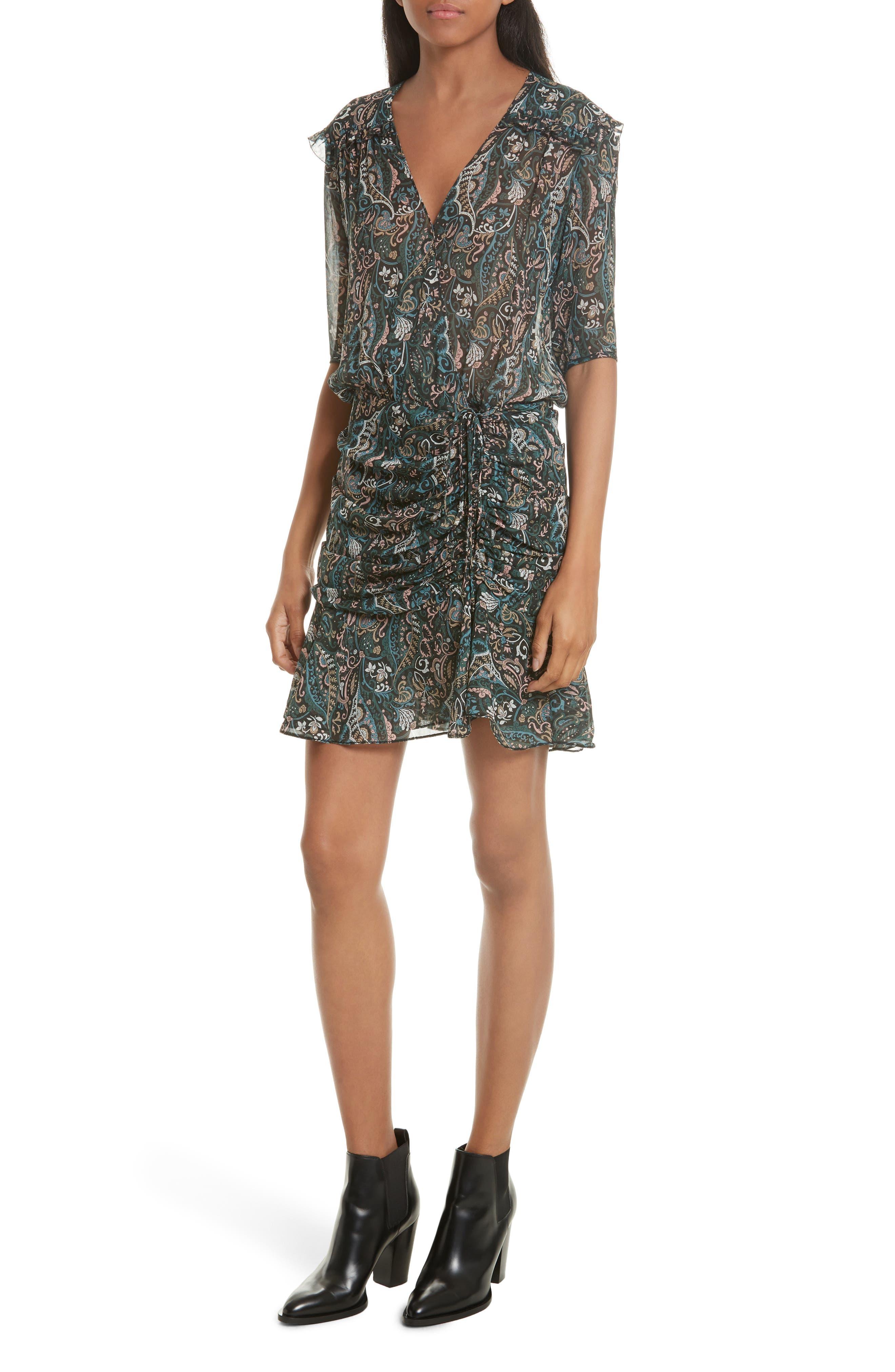 Retro Paisley Print Flounce Silk Dress,                         Main,                         color,