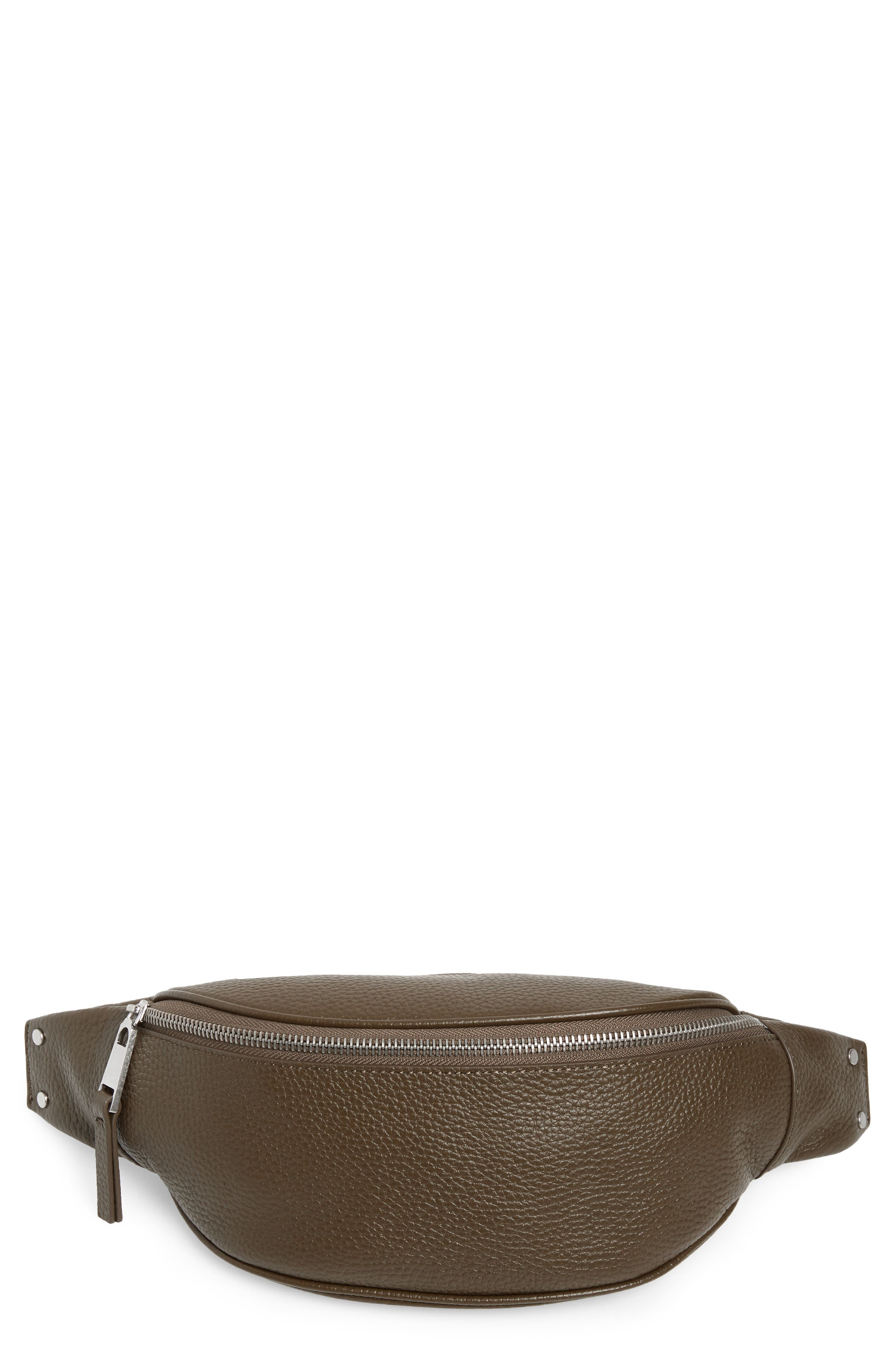 Mason Pebbled Leather Belt Bag,                         Main,                         color, OLIVE GROVE