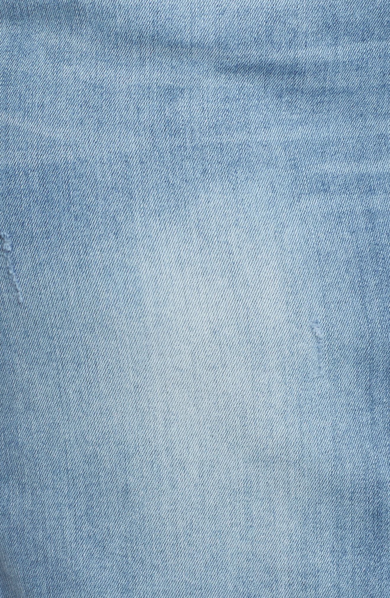 Denim A-Line Skirt,                             Alternate thumbnail 6, color,                             LIGHT BLUE