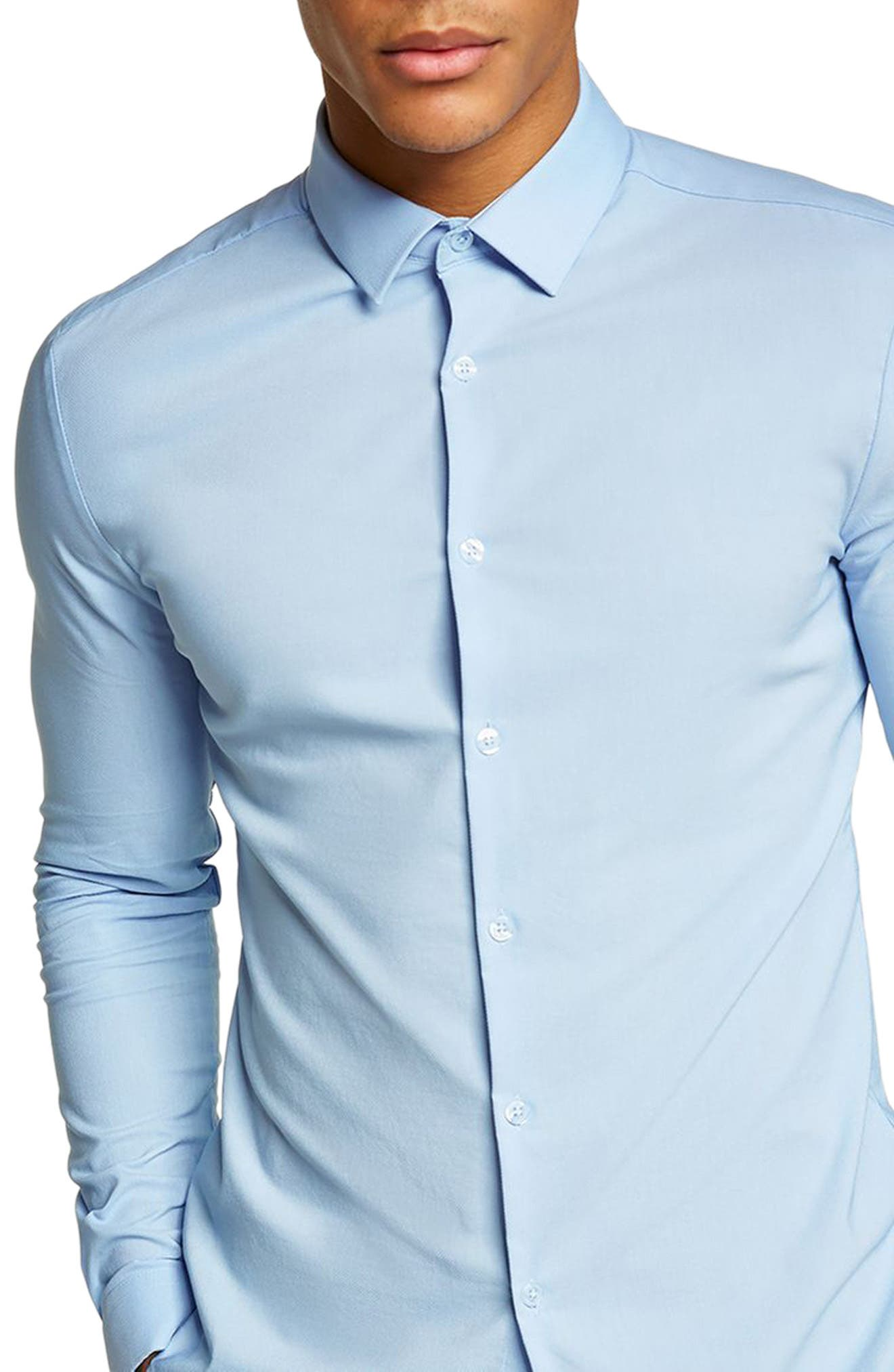 Muscle Fit Dress Shirt, Main, color, LIGHT BLUE