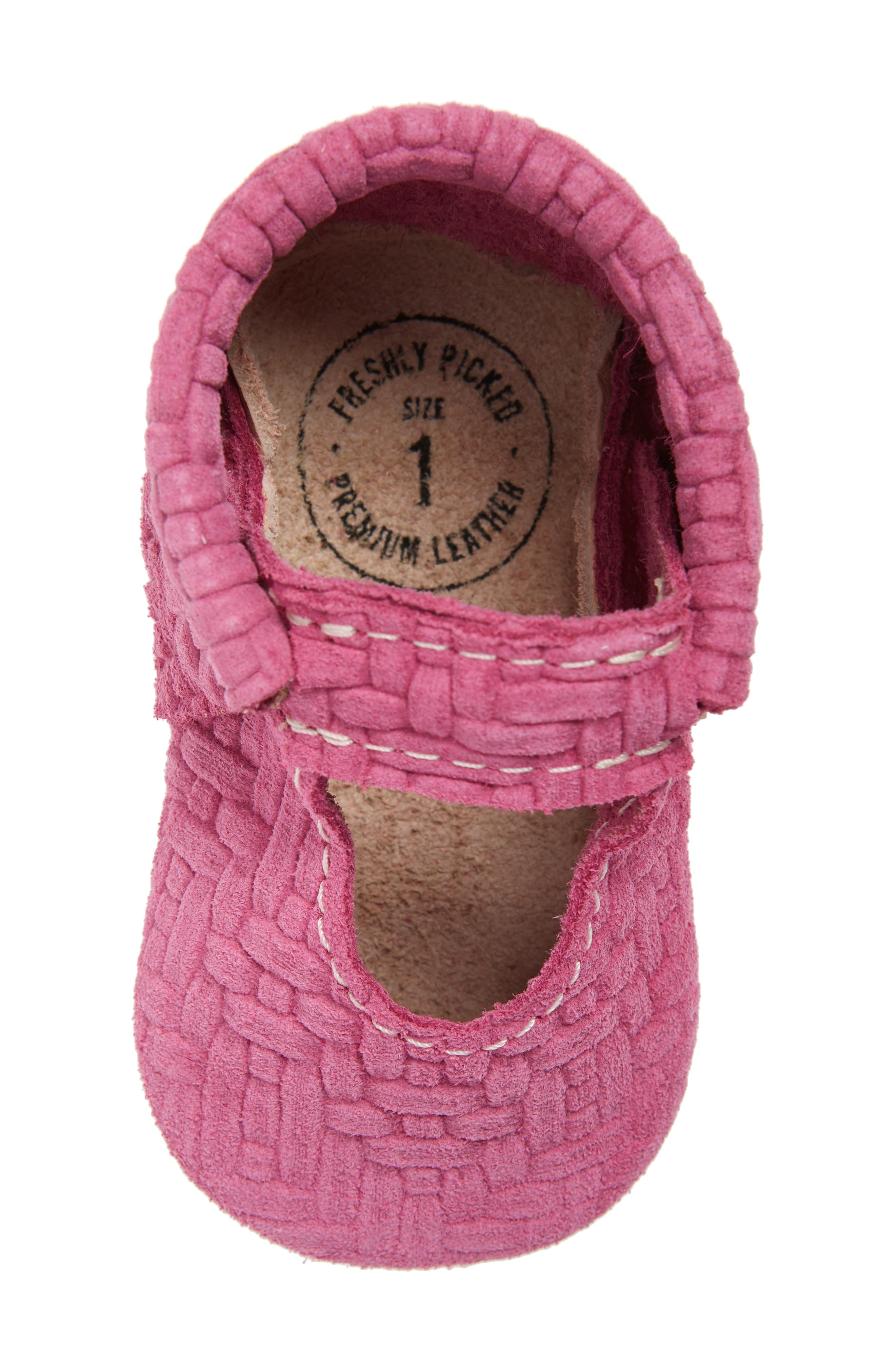 Pink Lemonade Embossed Leather Crib Shoe,                             Alternate thumbnail 5, color,                             PINK/ PEACH LEATHER