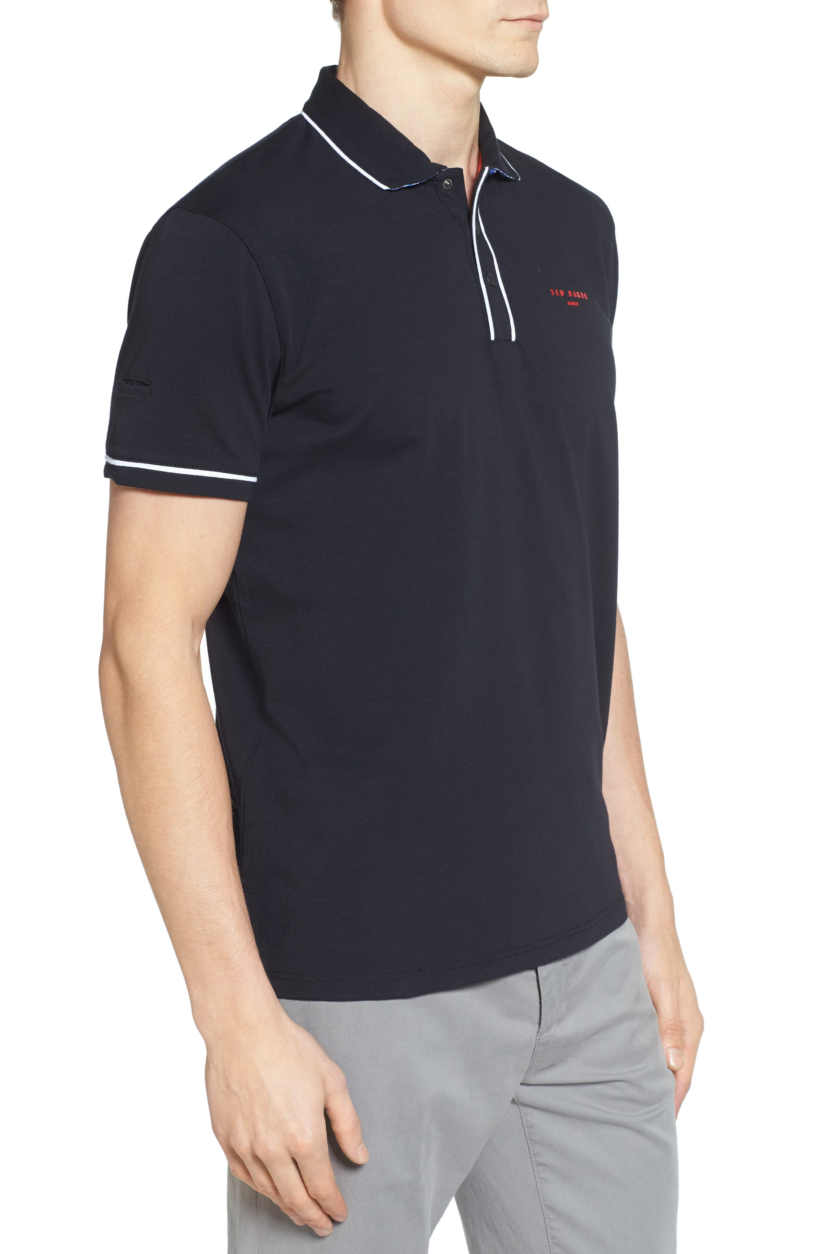 Playgo Piped Trim Golf Polo,                             Alternate thumbnail 3, color,                             001