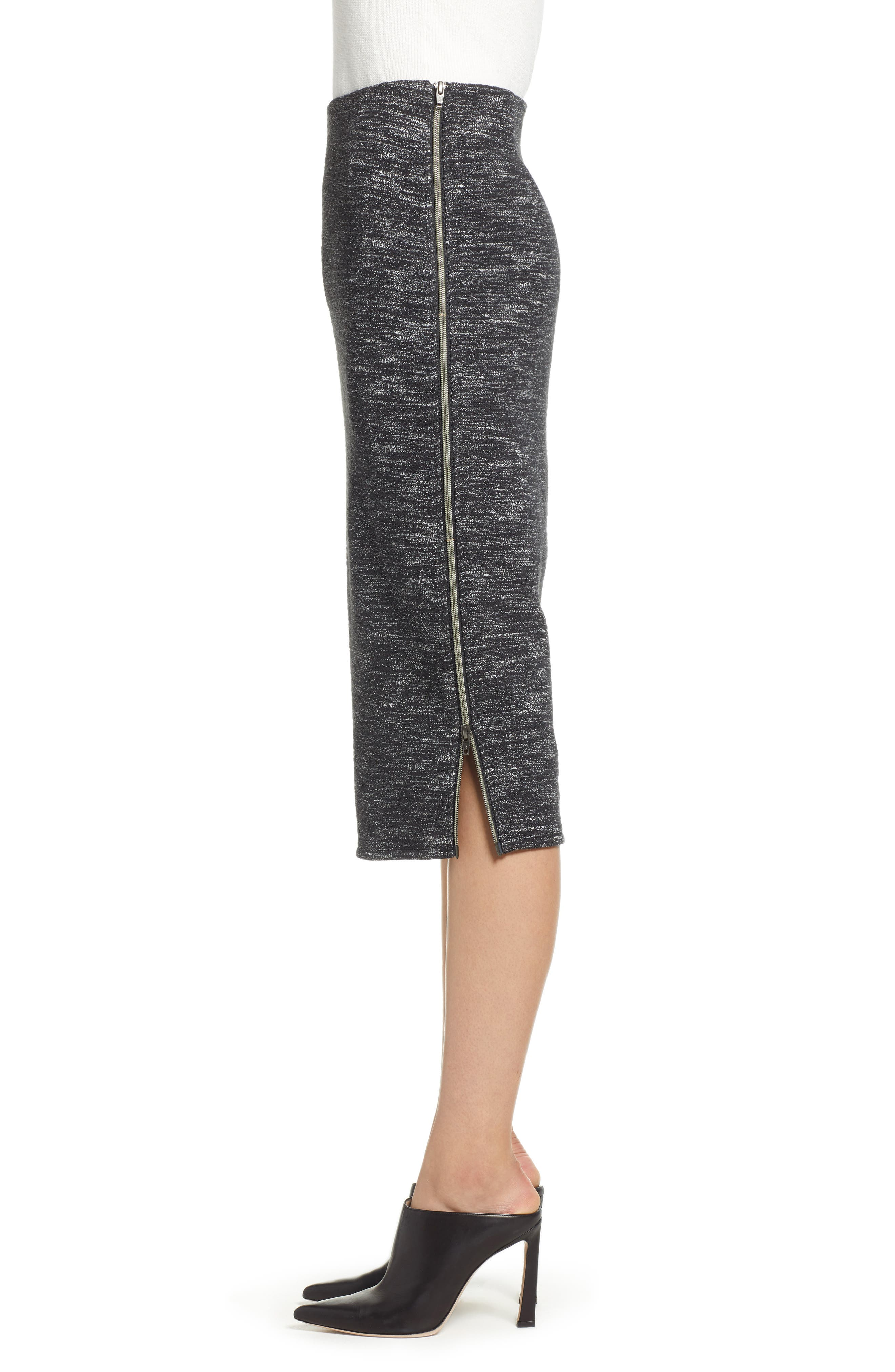 Side Zip Ponte Pencil Skirt,                             Alternate thumbnail 3, color,                             001