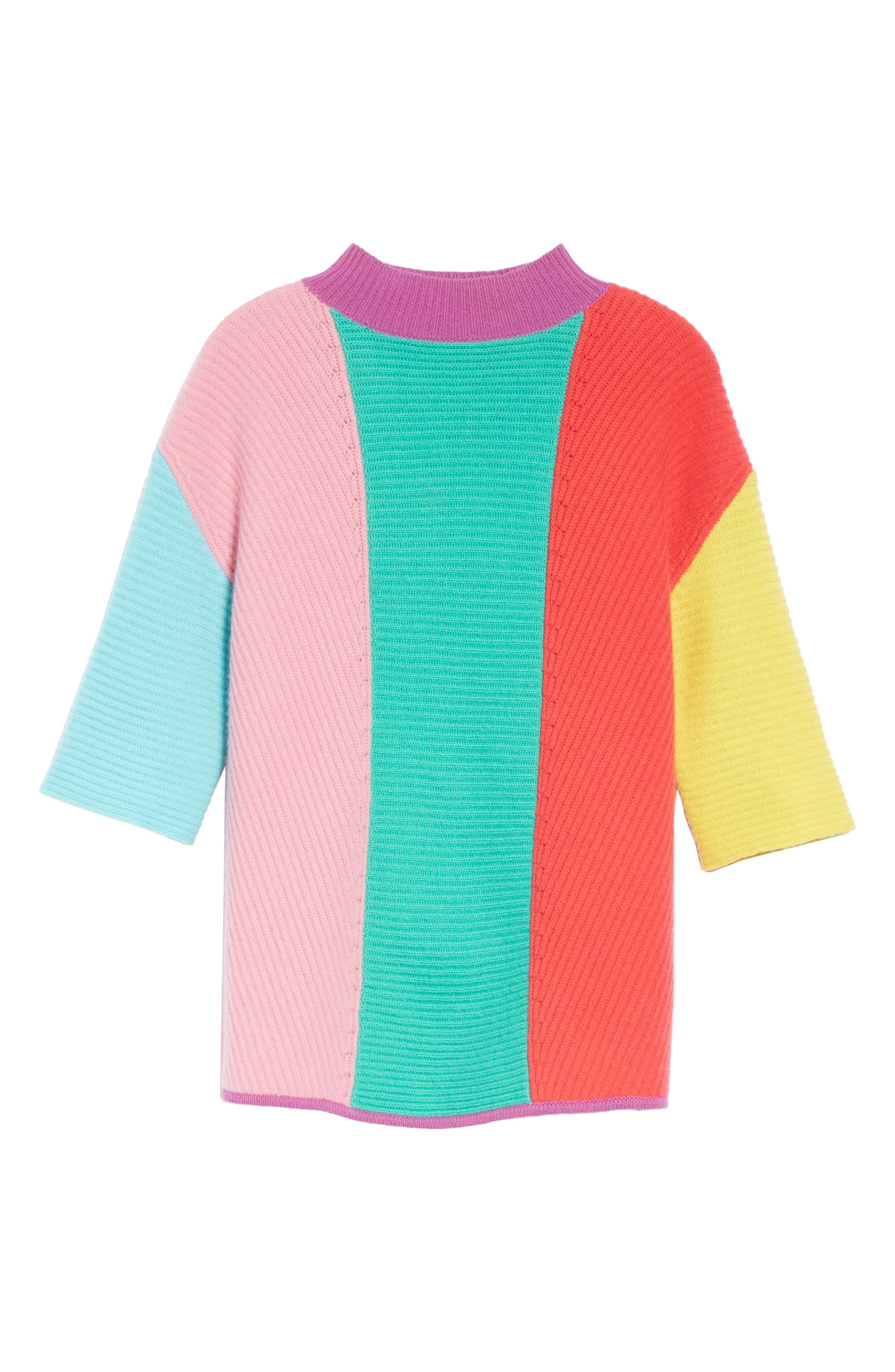 Stripe Short Sleeve Cashmere Sweater,                             Alternate thumbnail 6, color,                             MULTI