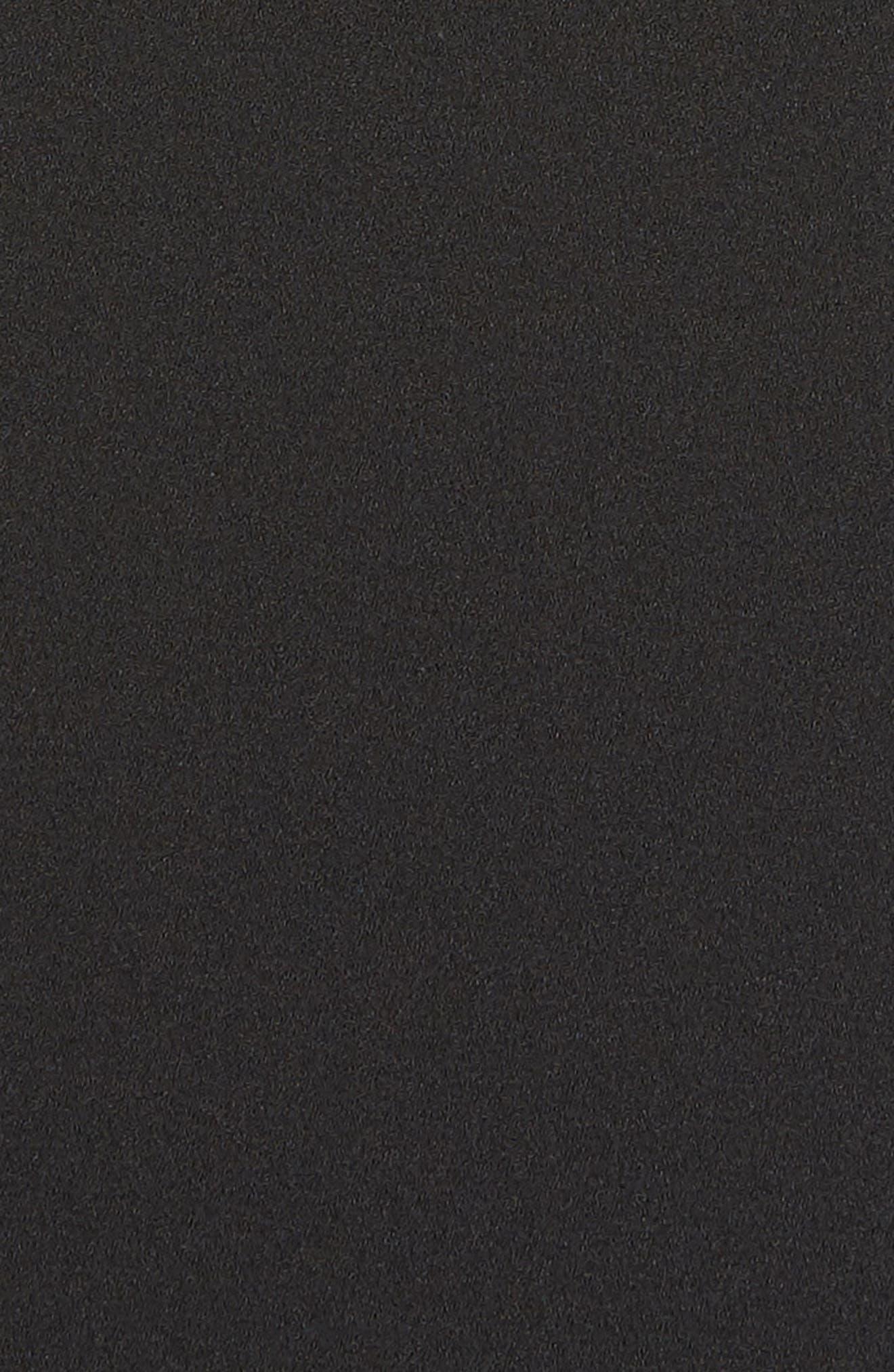 Asymmetrical Ruffle Neck Crepe Cocktail Dress,                             Alternate thumbnail 6, color,                             BLACK