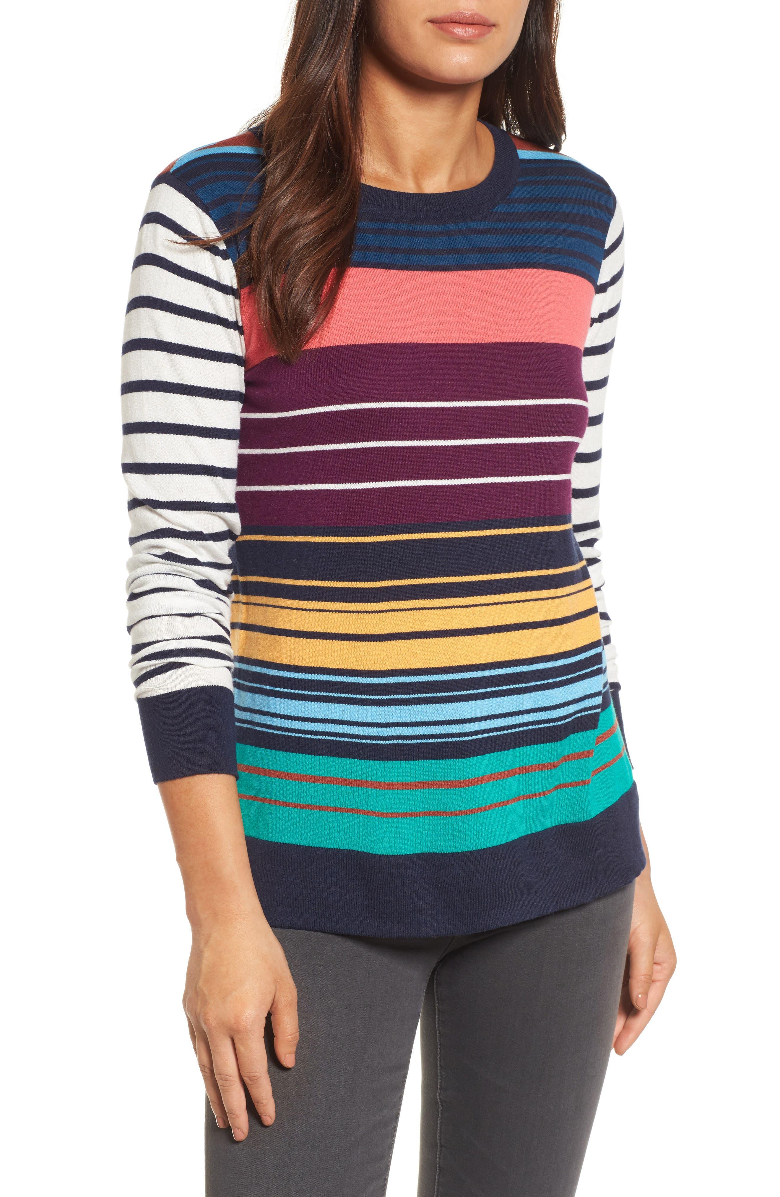 Colorblock Stripe Sweater,                             Main thumbnail 1, color,                             410