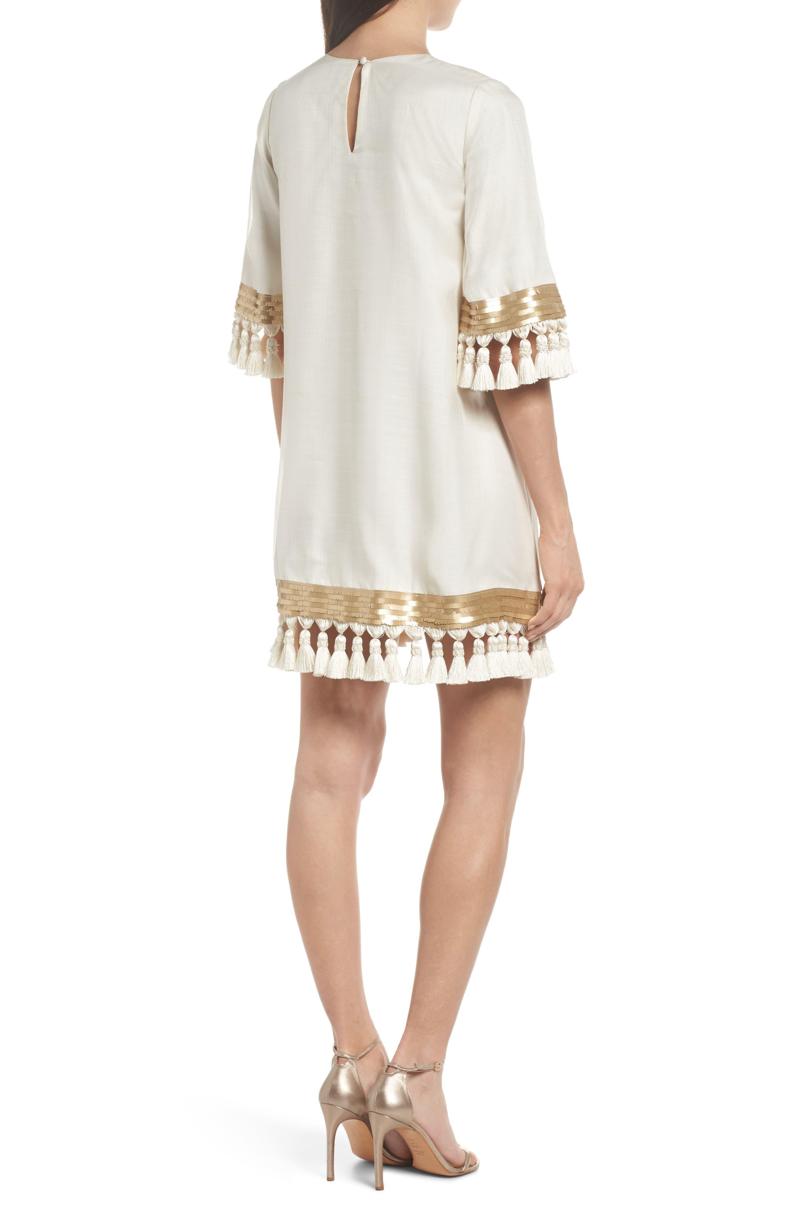 Mestiza Shimmy Shimmy Silk Tassel Shift Dress,                             Alternate thumbnail 2, color,                             901
