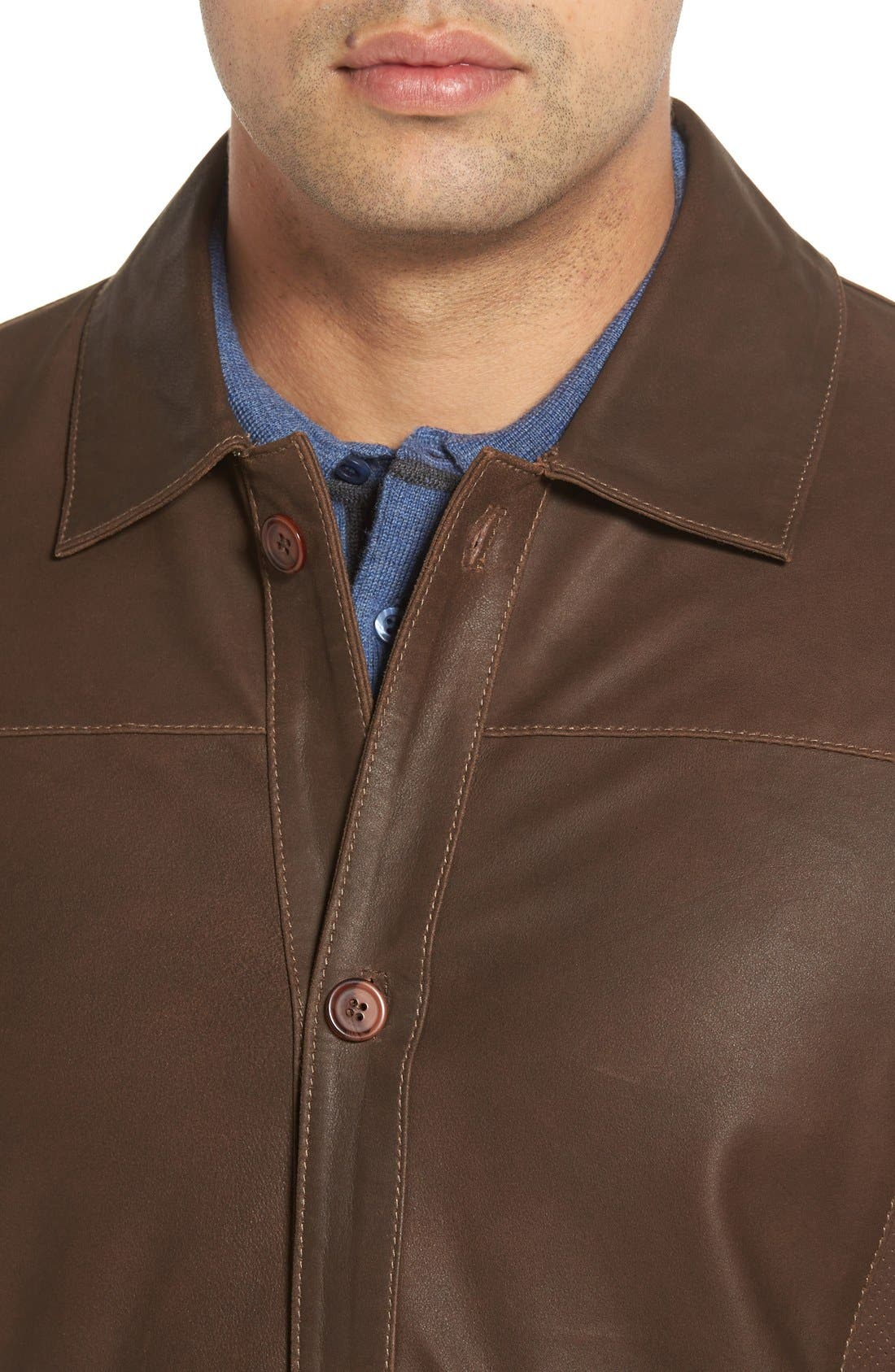 Unlined Leather Jacket,                             Alternate thumbnail 4, color,                             200