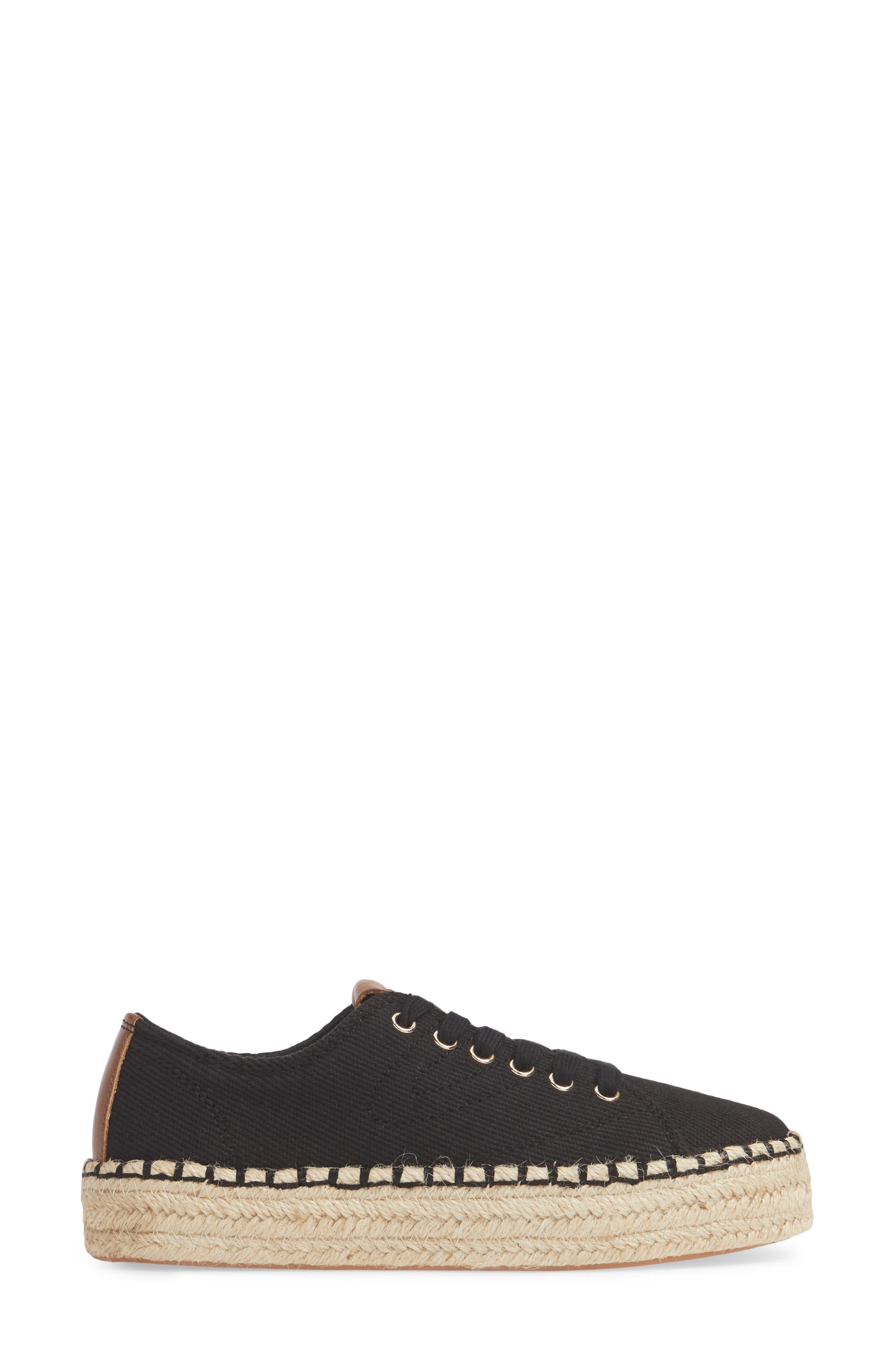 Platform Espadrille Sneaker,                             Alternate thumbnail 3, color,                             BLACK/ KONA TAN FABRIC