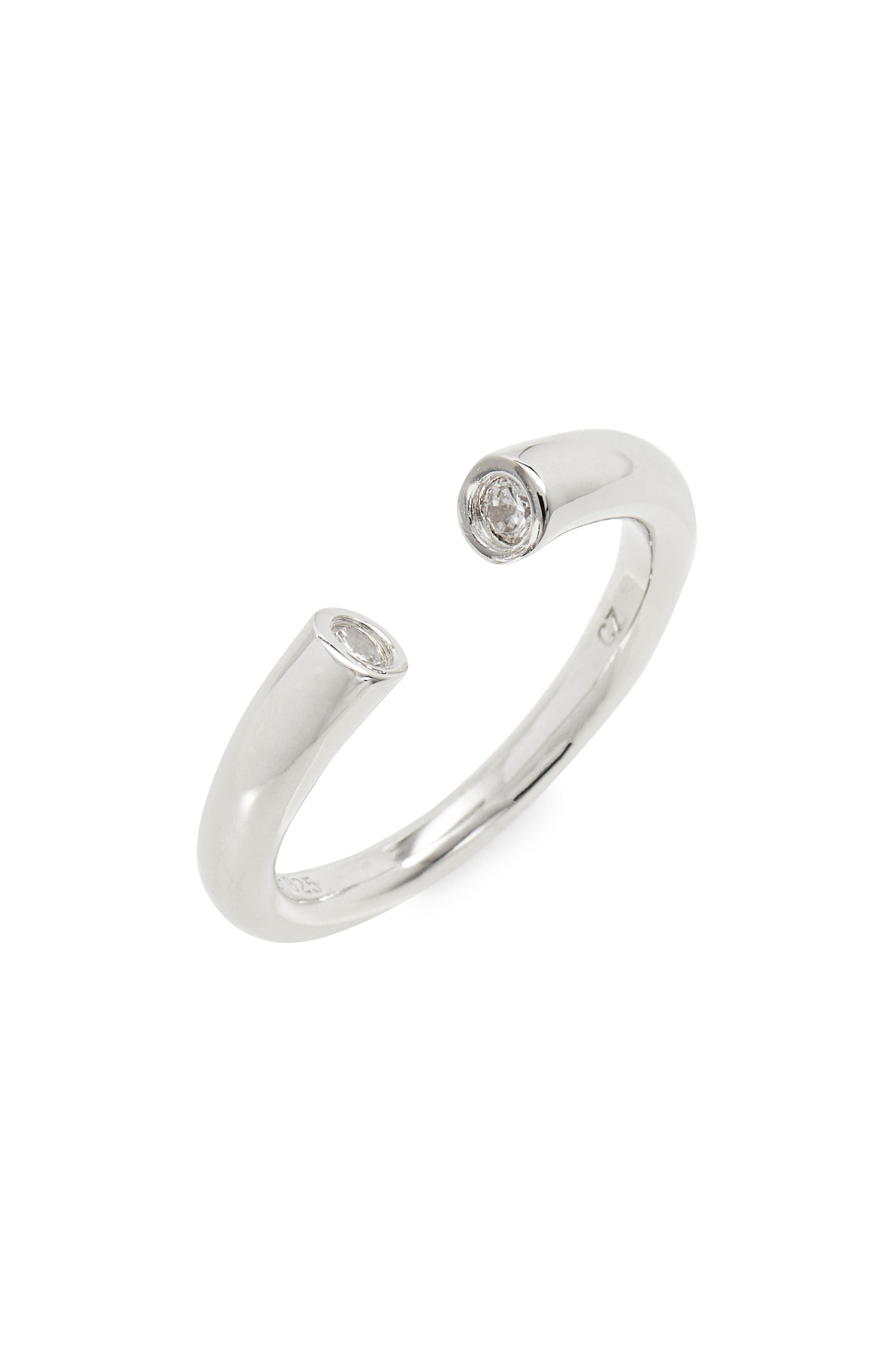 Cubic Zirconia Bezel Cuff Ring,                             Main thumbnail 1, color,                             040