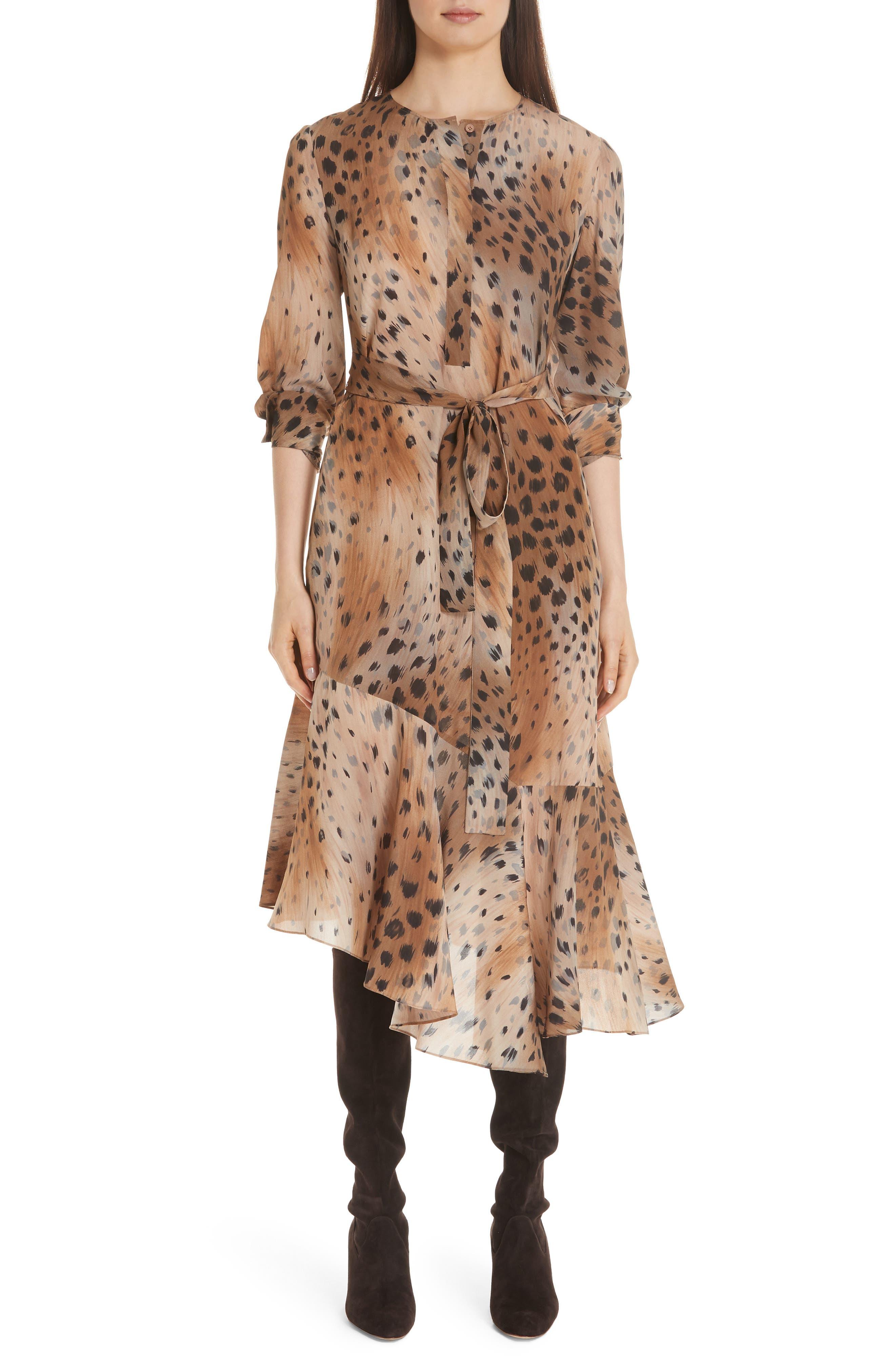 Delancy Silk Dress,                         Main,                         color, SADDLE MULTI