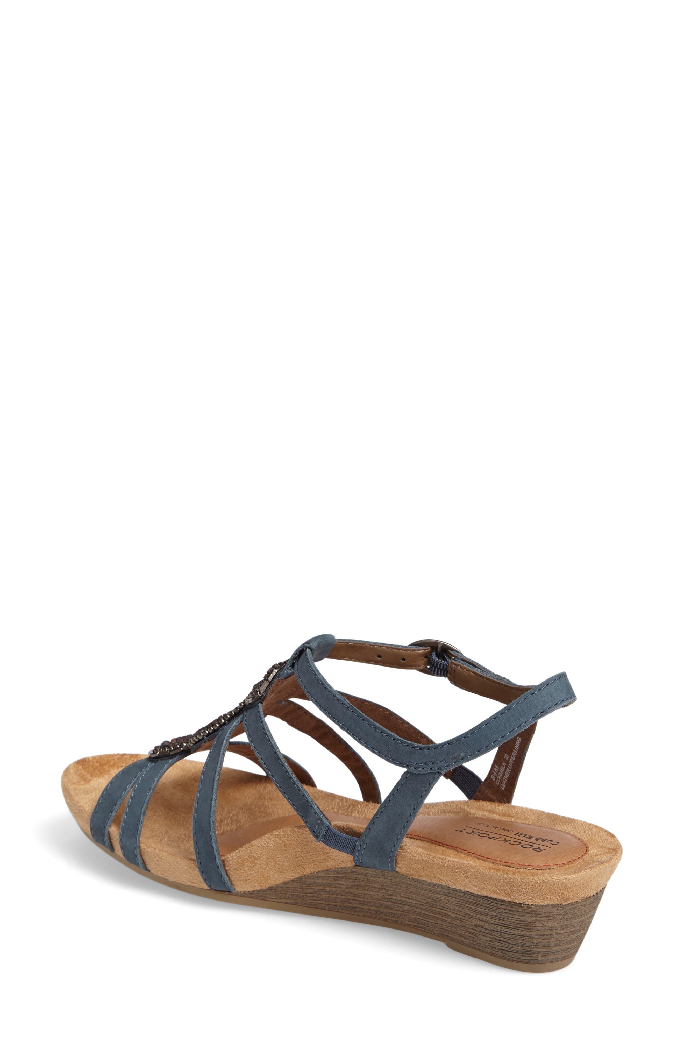 'Hannah' Leather Sandal,                             Alternate thumbnail 2, color,                             BLUE NUBUCK