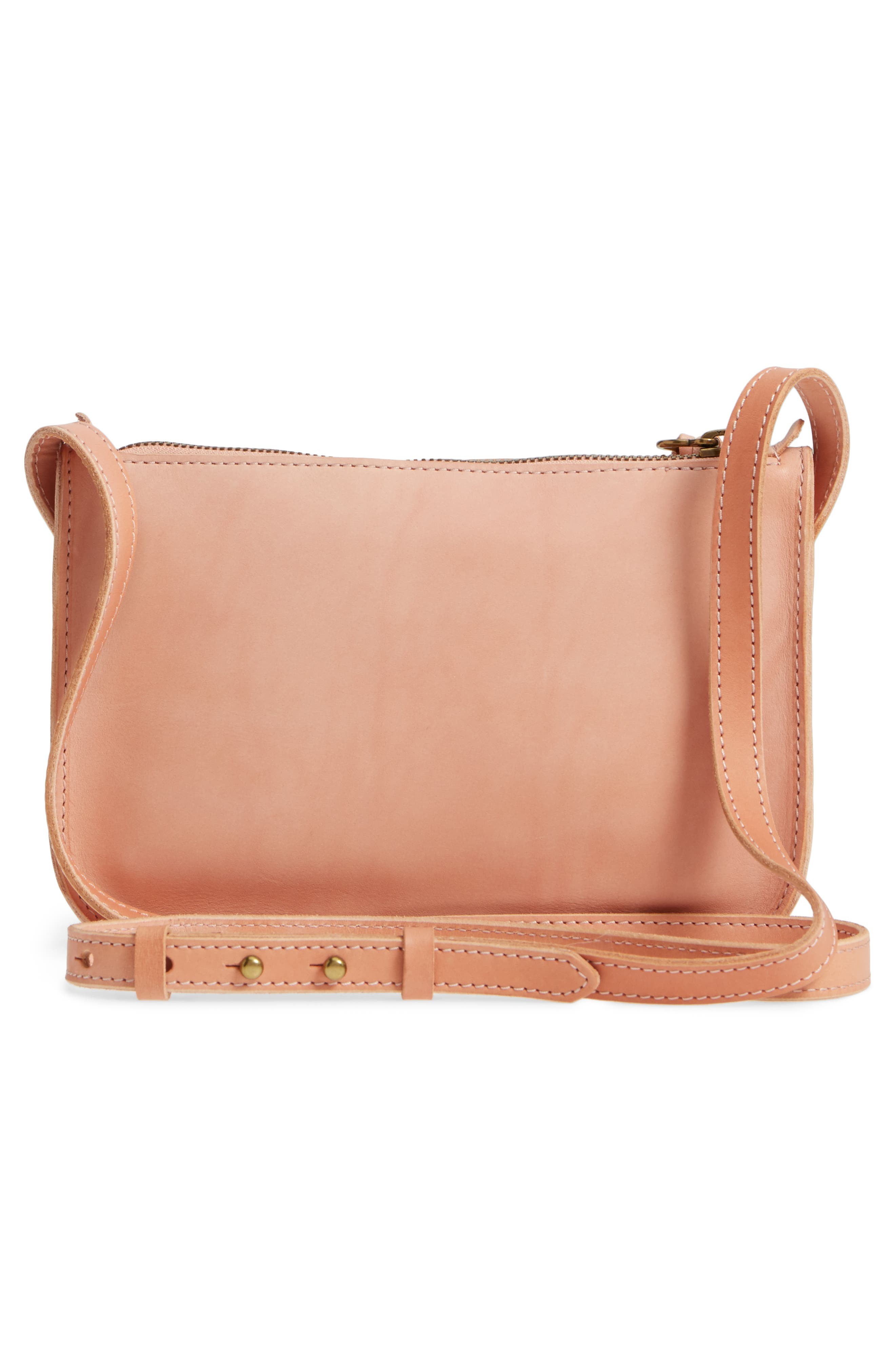 Simple Leather Crossbody Bag,                             Alternate thumbnail 3, color,                             PETAL PINK