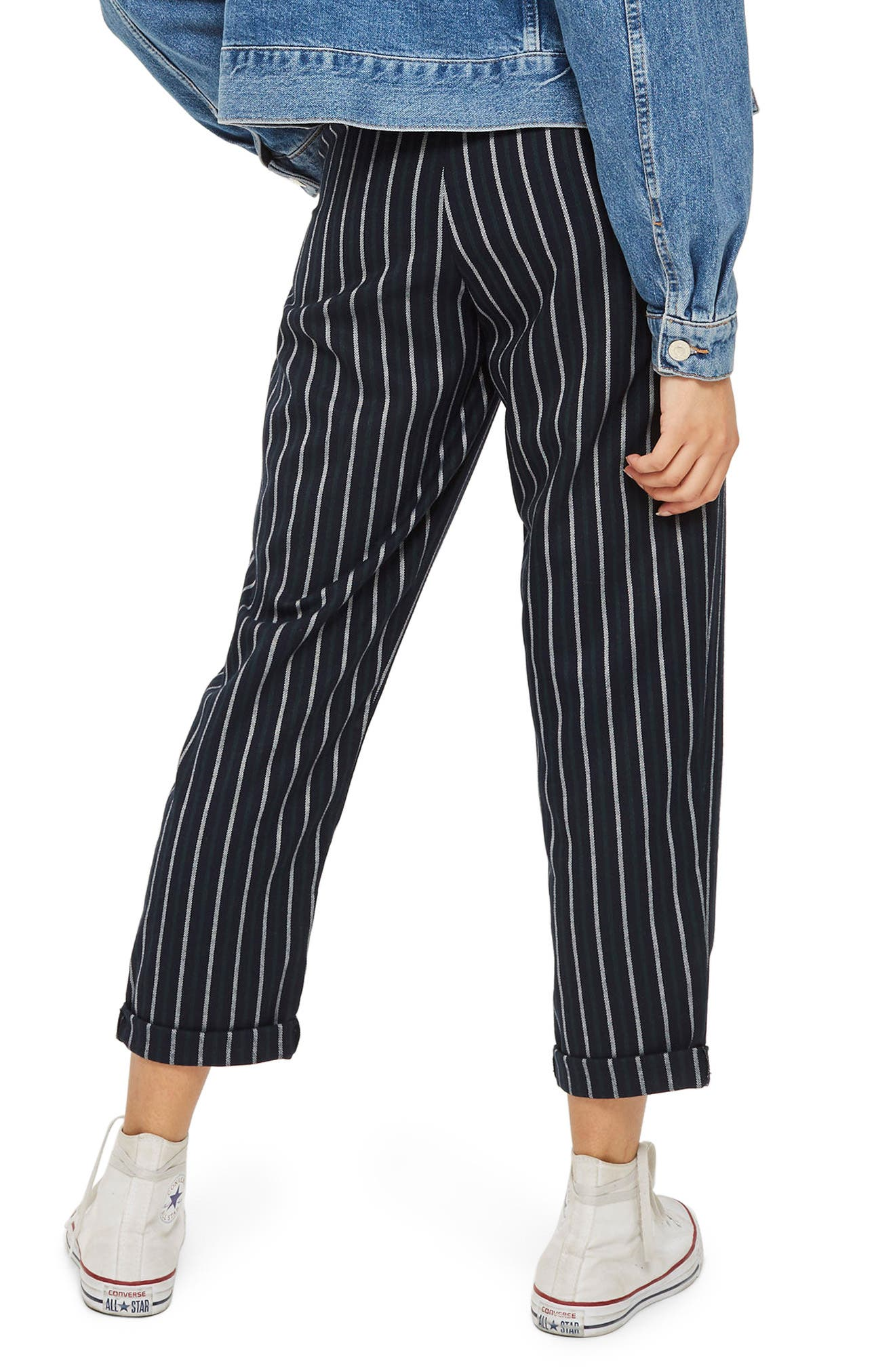 Button Front Stripe Tapered Trousers,                             Alternate thumbnail 2, color,                             300