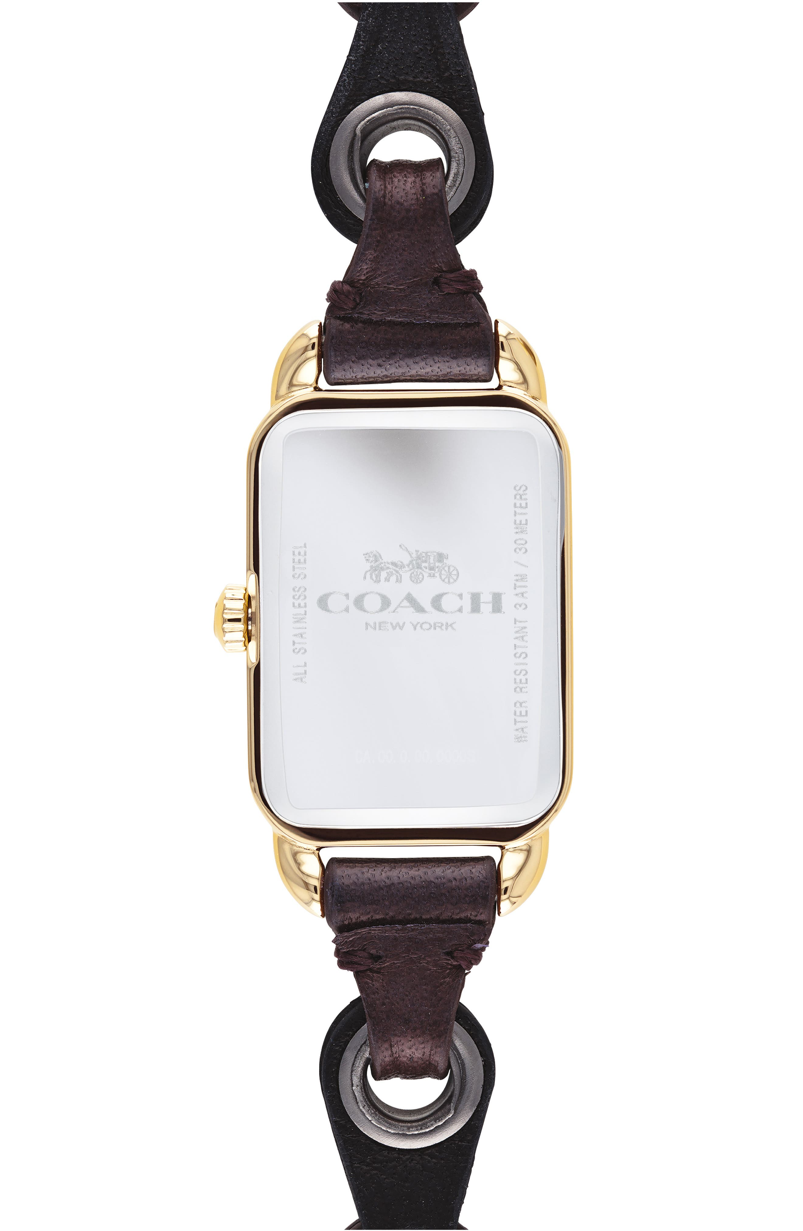 Ludlow Rectangular Leather Strap Watch, 17mm,                             Alternate thumbnail 2, color,                             001