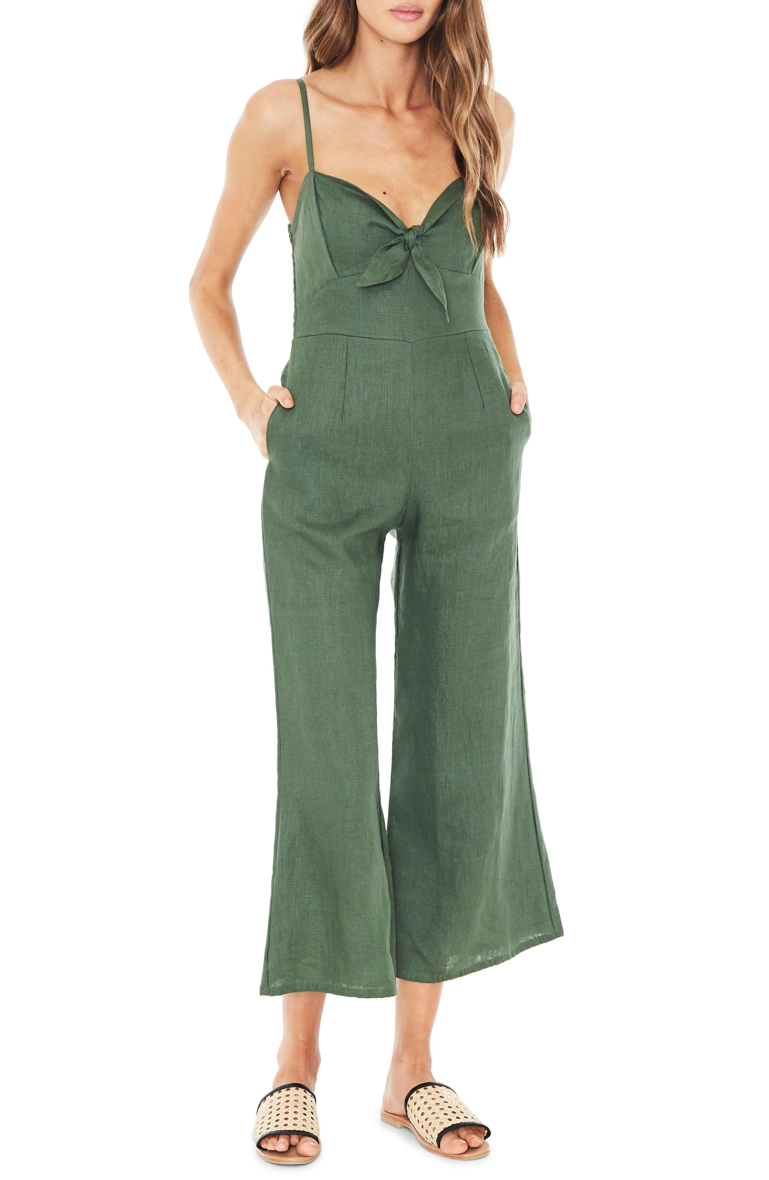 Presley Linen Jumpsuit,                             Main thumbnail 1, color,                             PLAIN MOSS GREEN