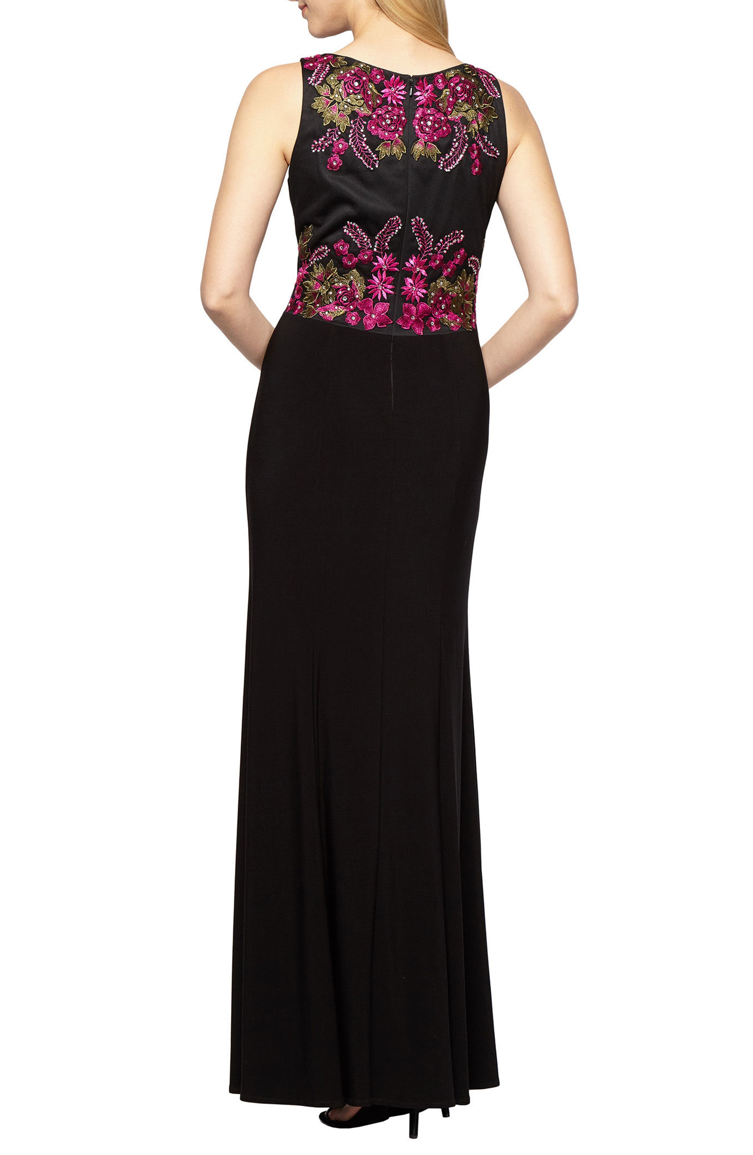Embellished Sleeveless Gown,                             Alternate thumbnail 2, color,                             015