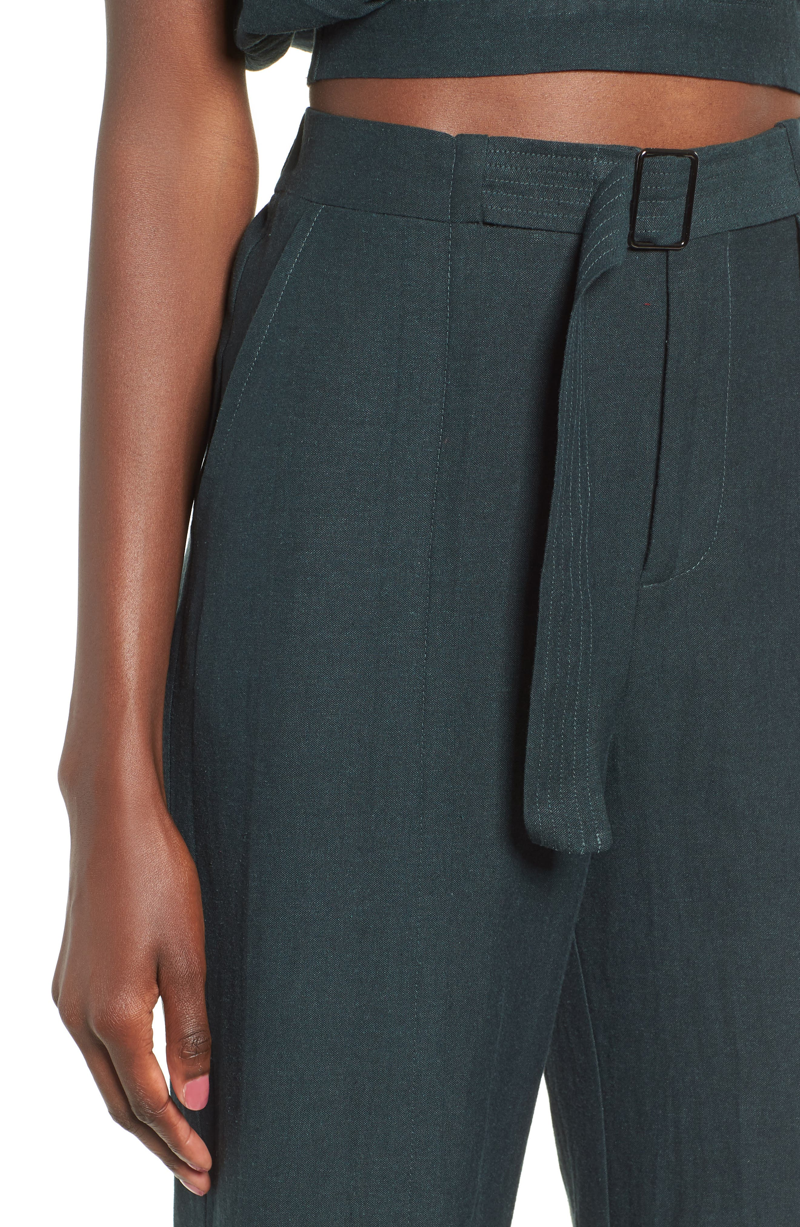 Belted High Waist Pants,                             Alternate thumbnail 4, color,                             FOREST