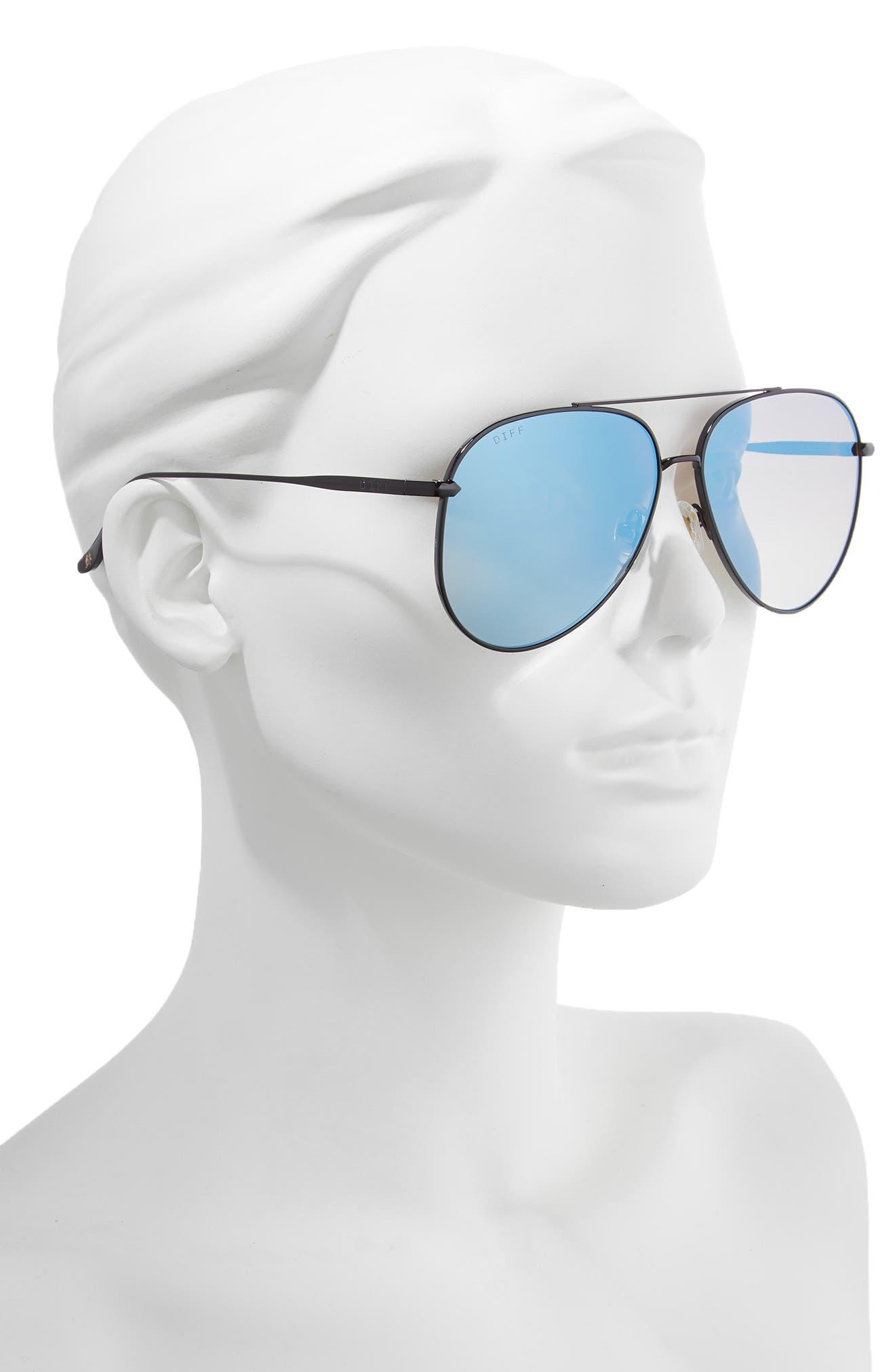 Nala 60mm Polarized Aviator Sunglasses,                             Alternate thumbnail 2, color,                             BLACK/ SMOKE