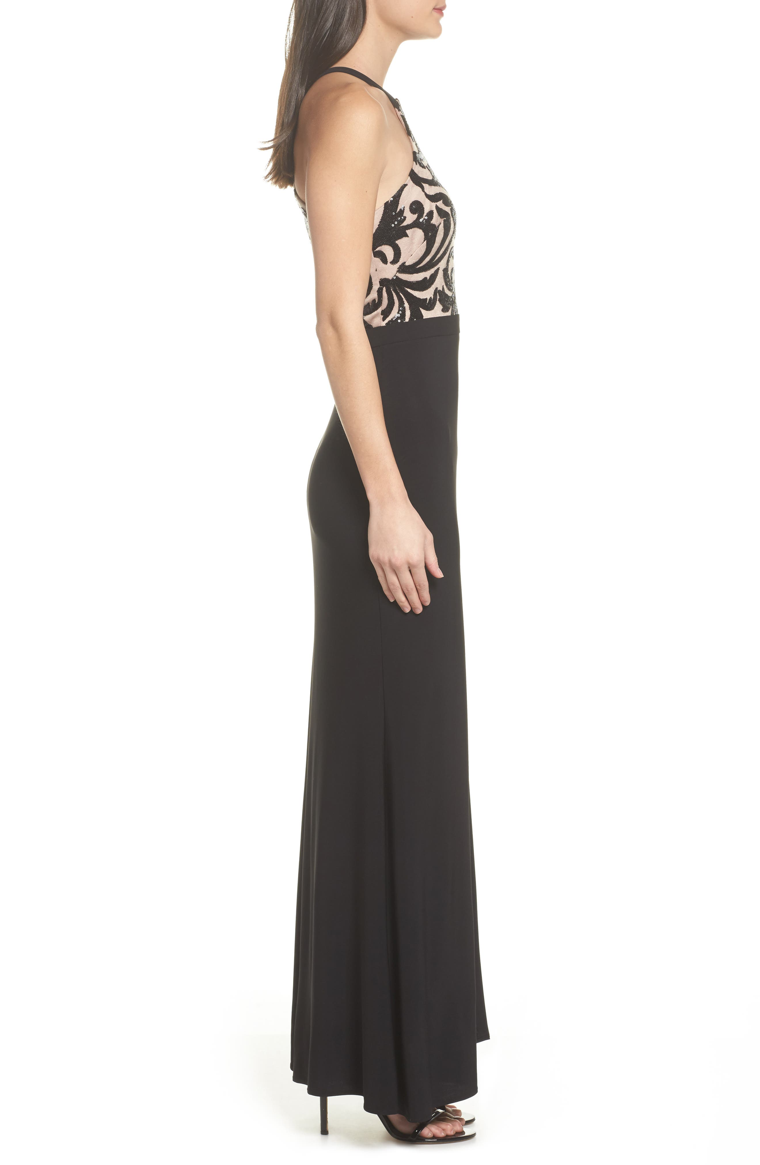 Sequin Embroidered Stretch Knit Gown,                             Alternate thumbnail 3, color,                             BLACK / NUDE