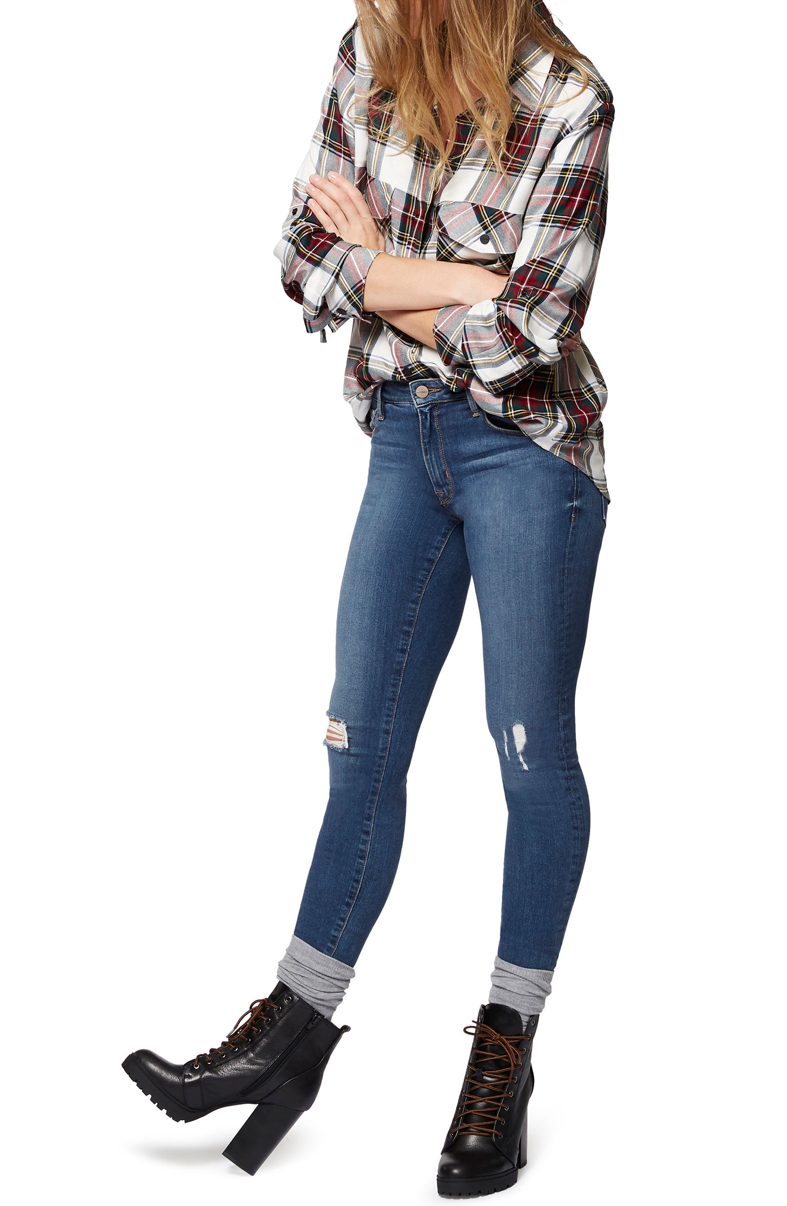 Robbie High Waist Skinny Jeans,                             Alternate thumbnail 3, color,                             421