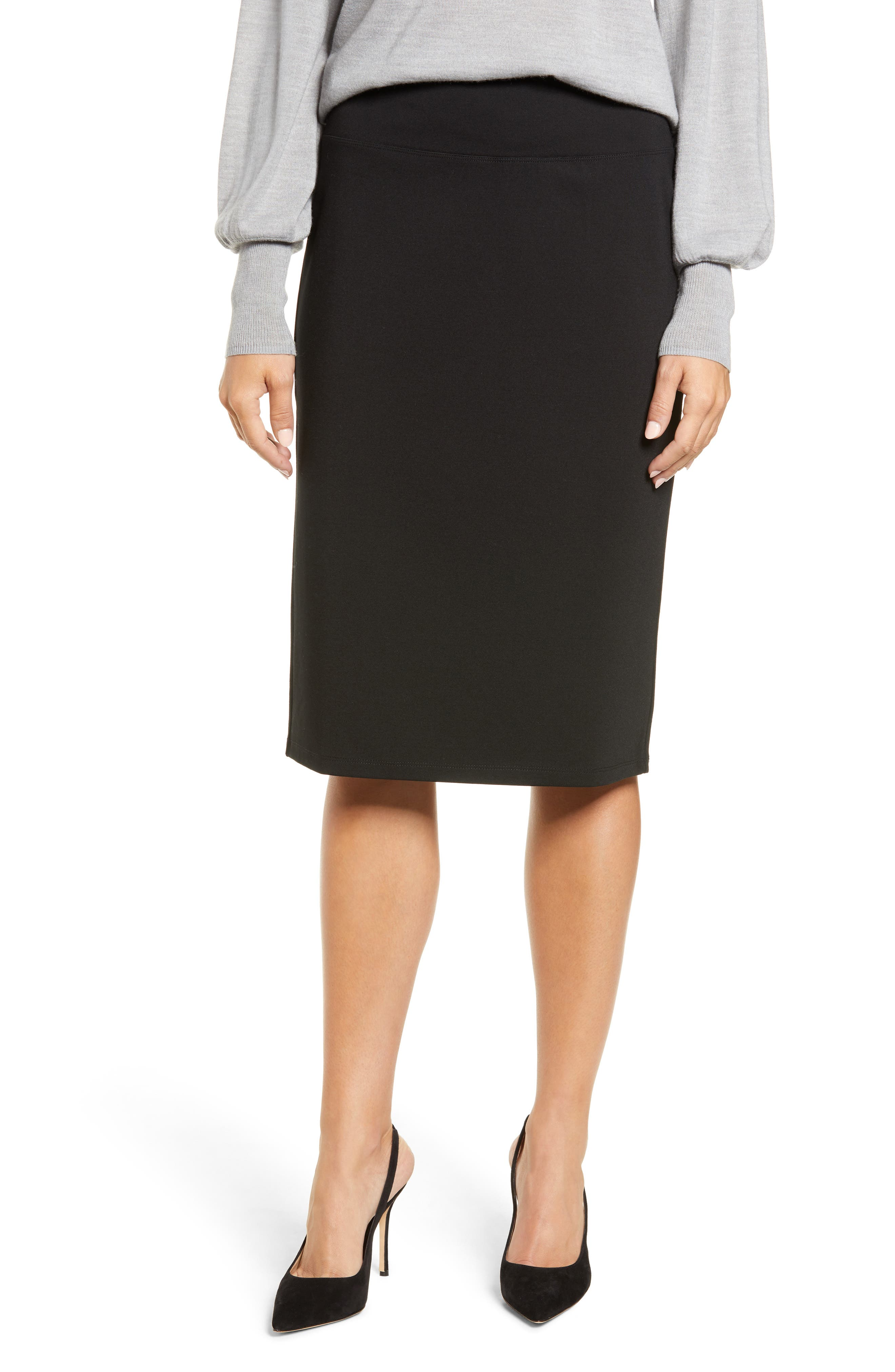 HALOGEN<SUP>®</SUP>,                             Ponte Pencil Skirt,                             Main thumbnail 1, color,                             001