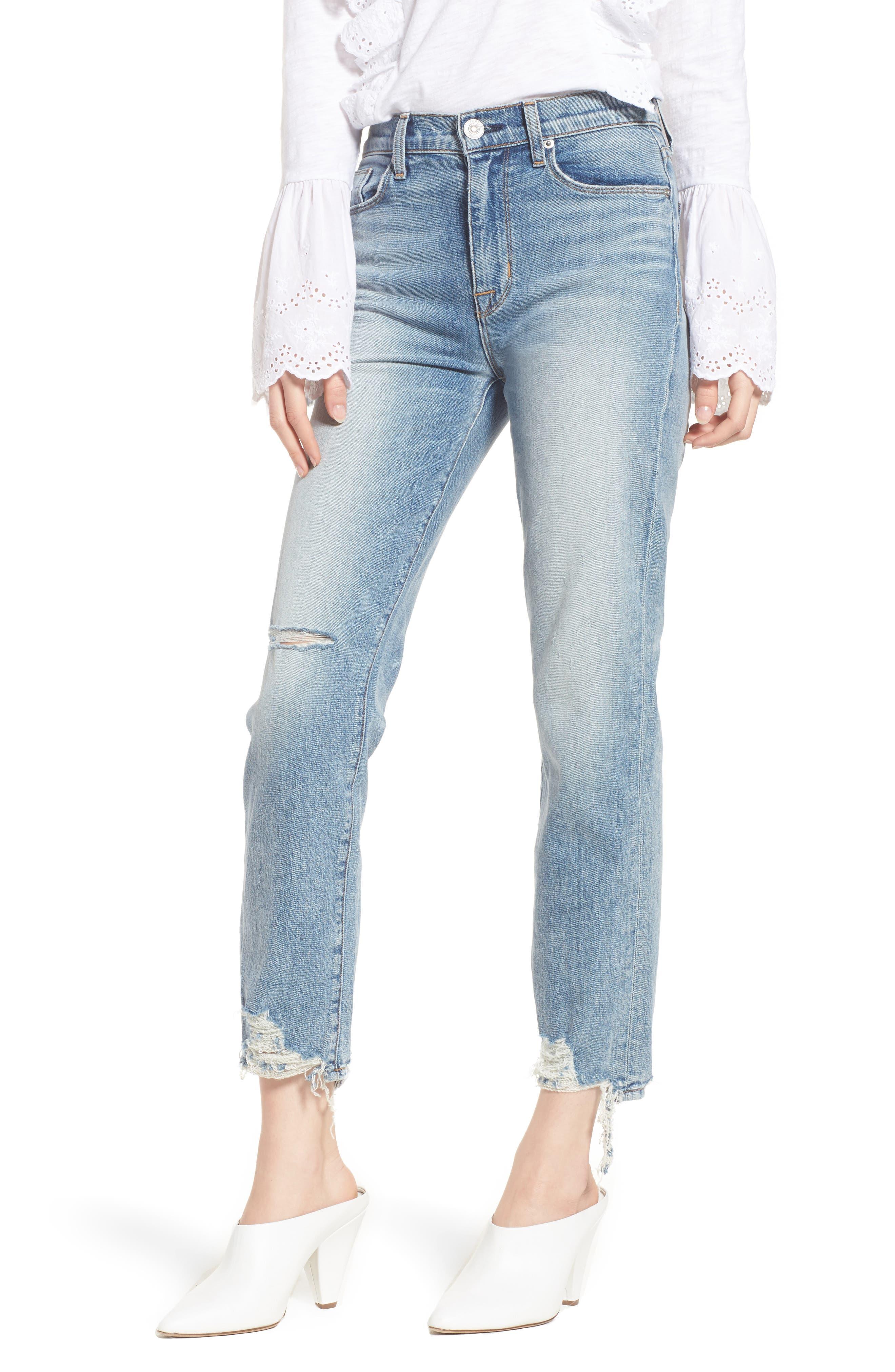 Zoeey High Waist Ankle Straight Leg Jeans,                         Main,                         color, 456